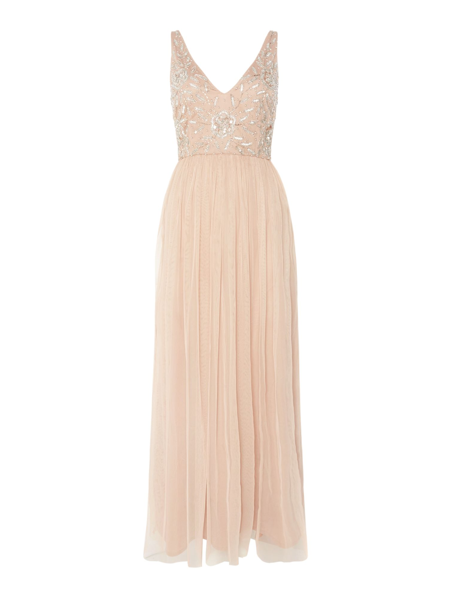 Lace and Beads V neck beaded top maxi dress, Mink