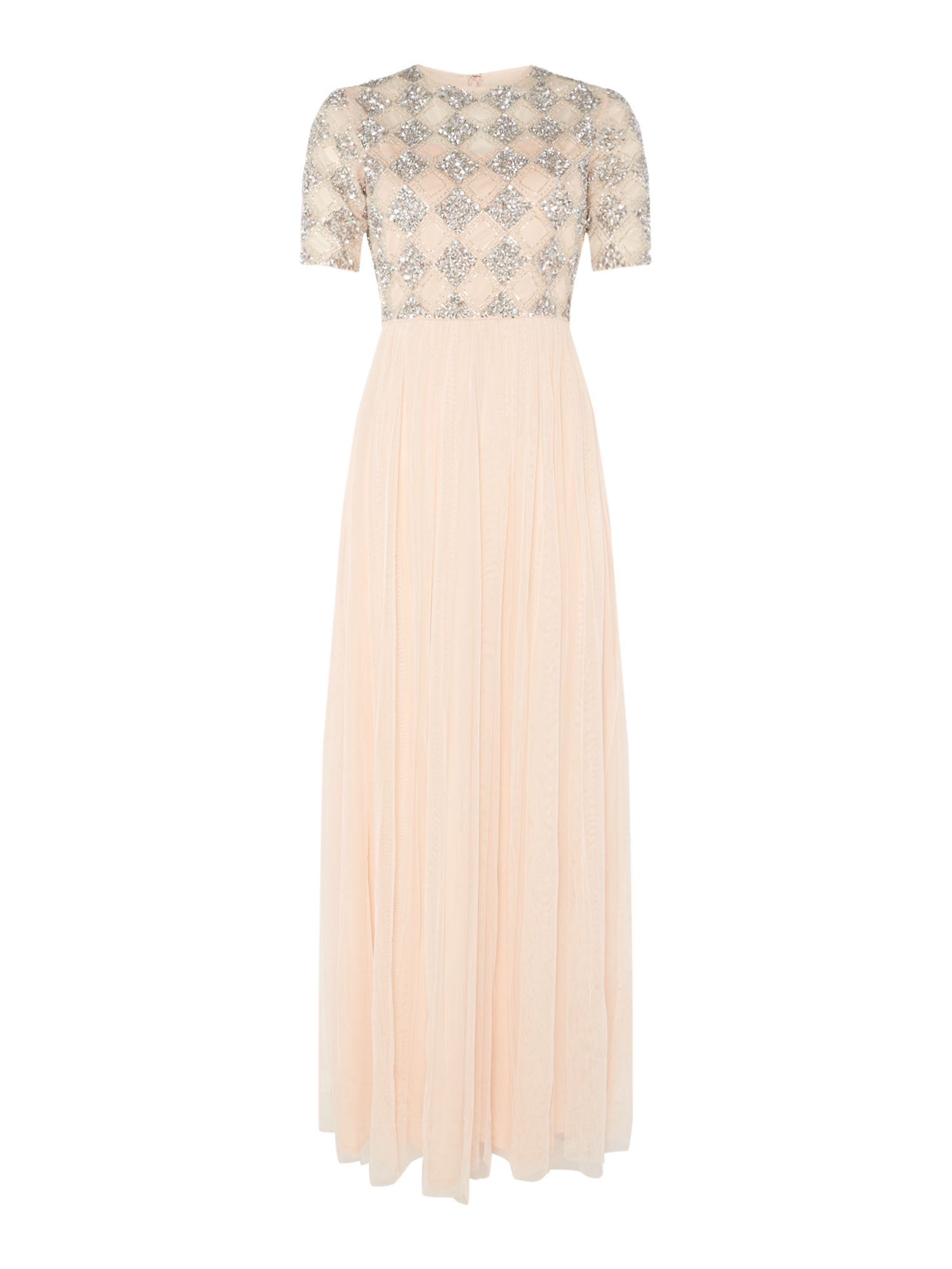 Lace and Beads Sequin short sleeve gown, Nude