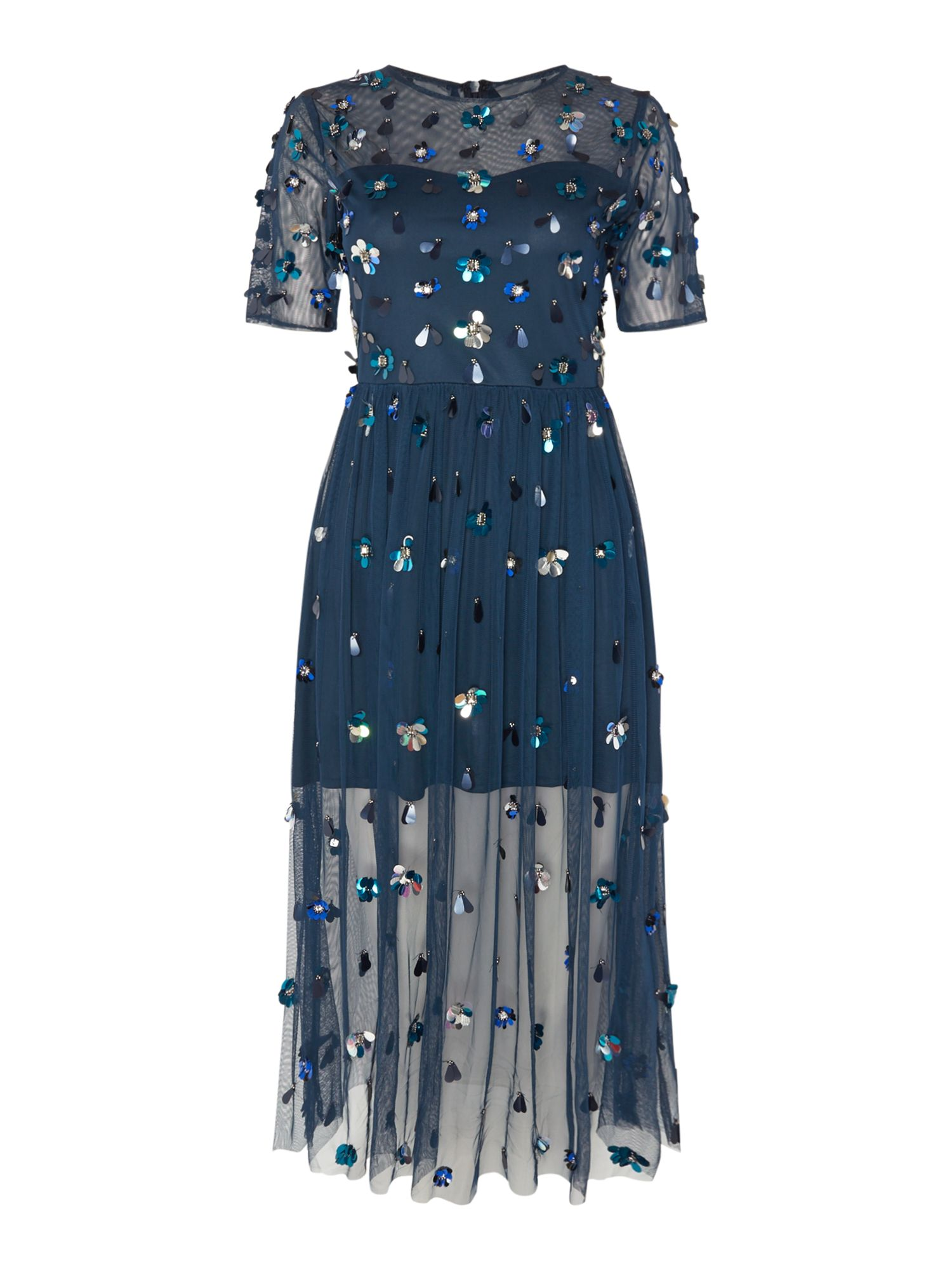 Lace and Beads Mesh sequin fit and flare dress, Blue