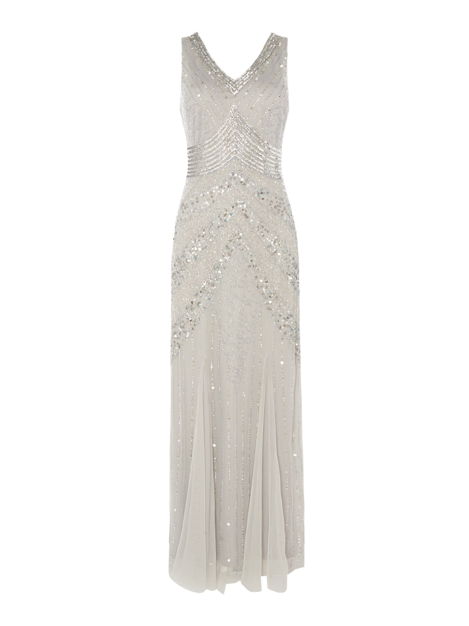 Lace and Beads Sequin V neck gown, Light Grey