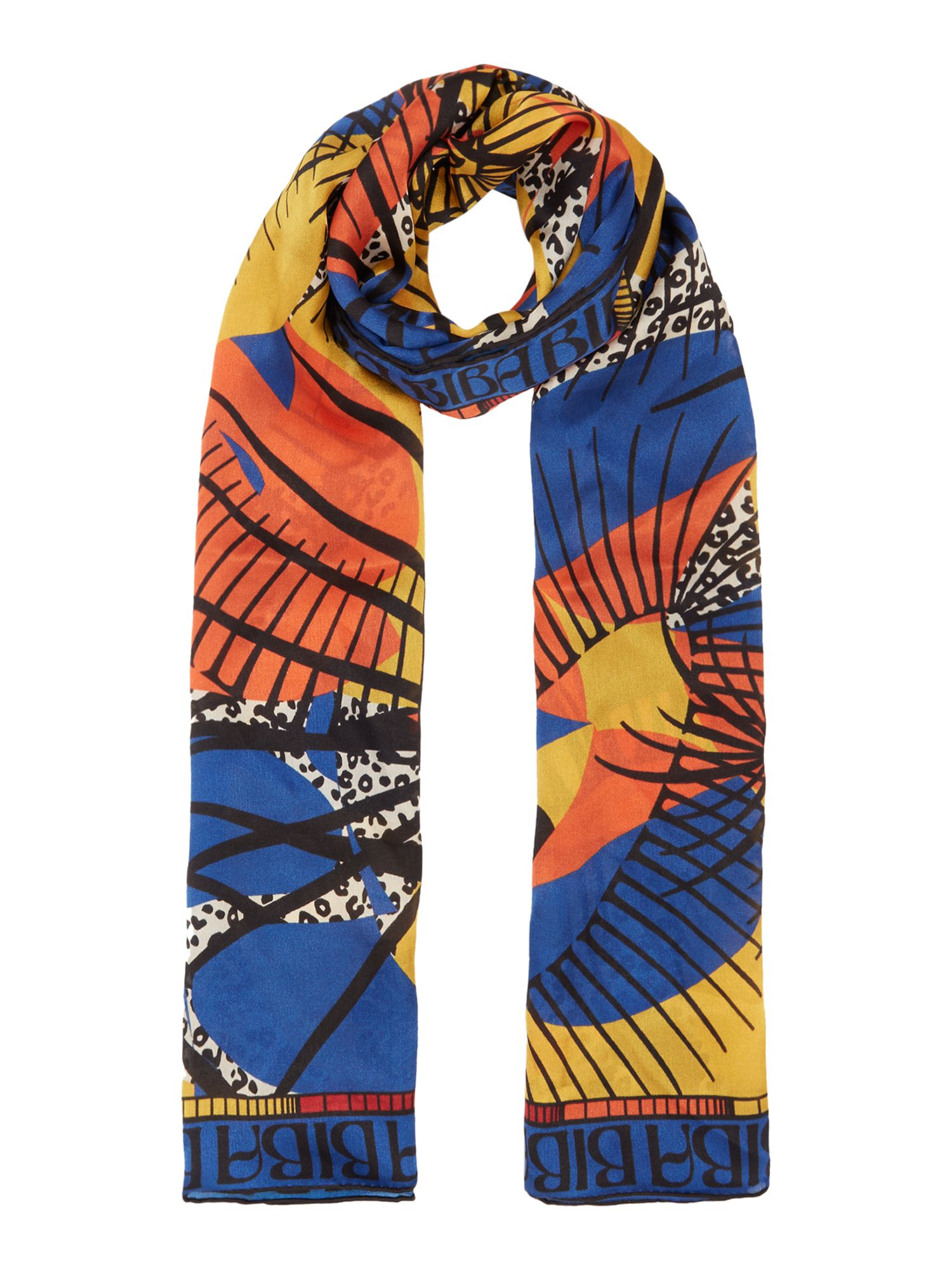 Biba Backwards tribal silk scarf, Multi-Coloured