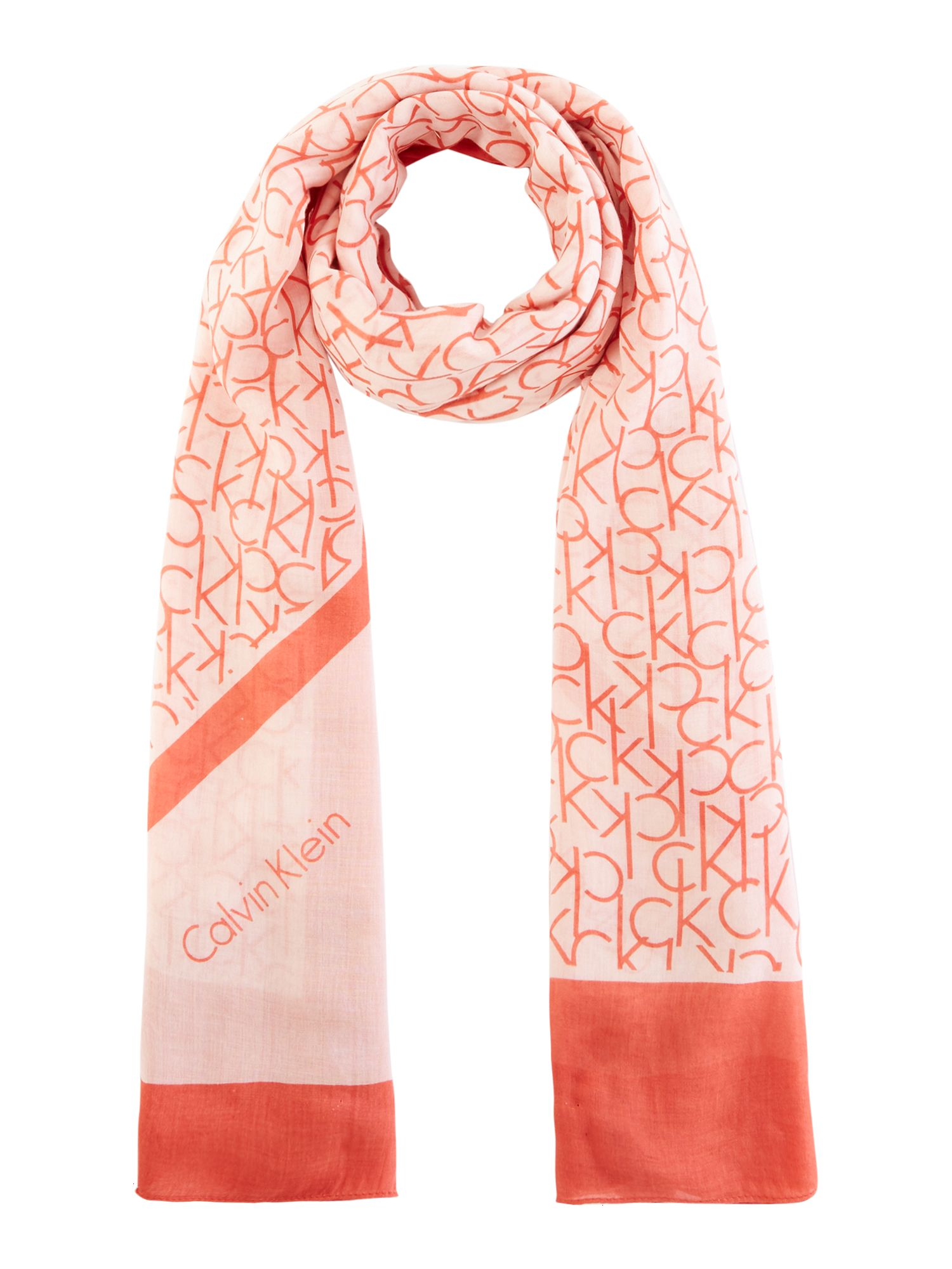 Calvin Klein All over CK print scarf, Red