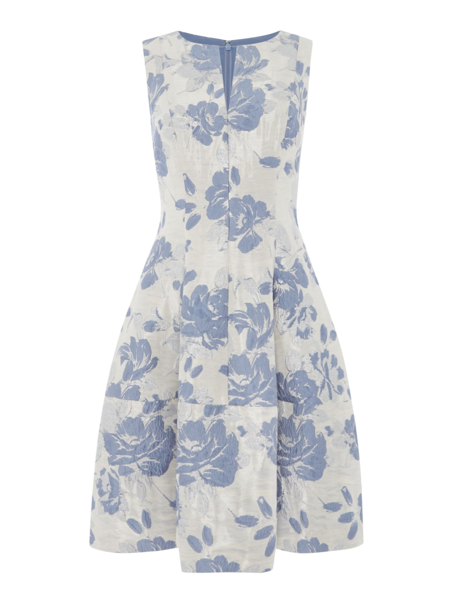 Eliza J Printed sleeveless fit and flare dress, Blue