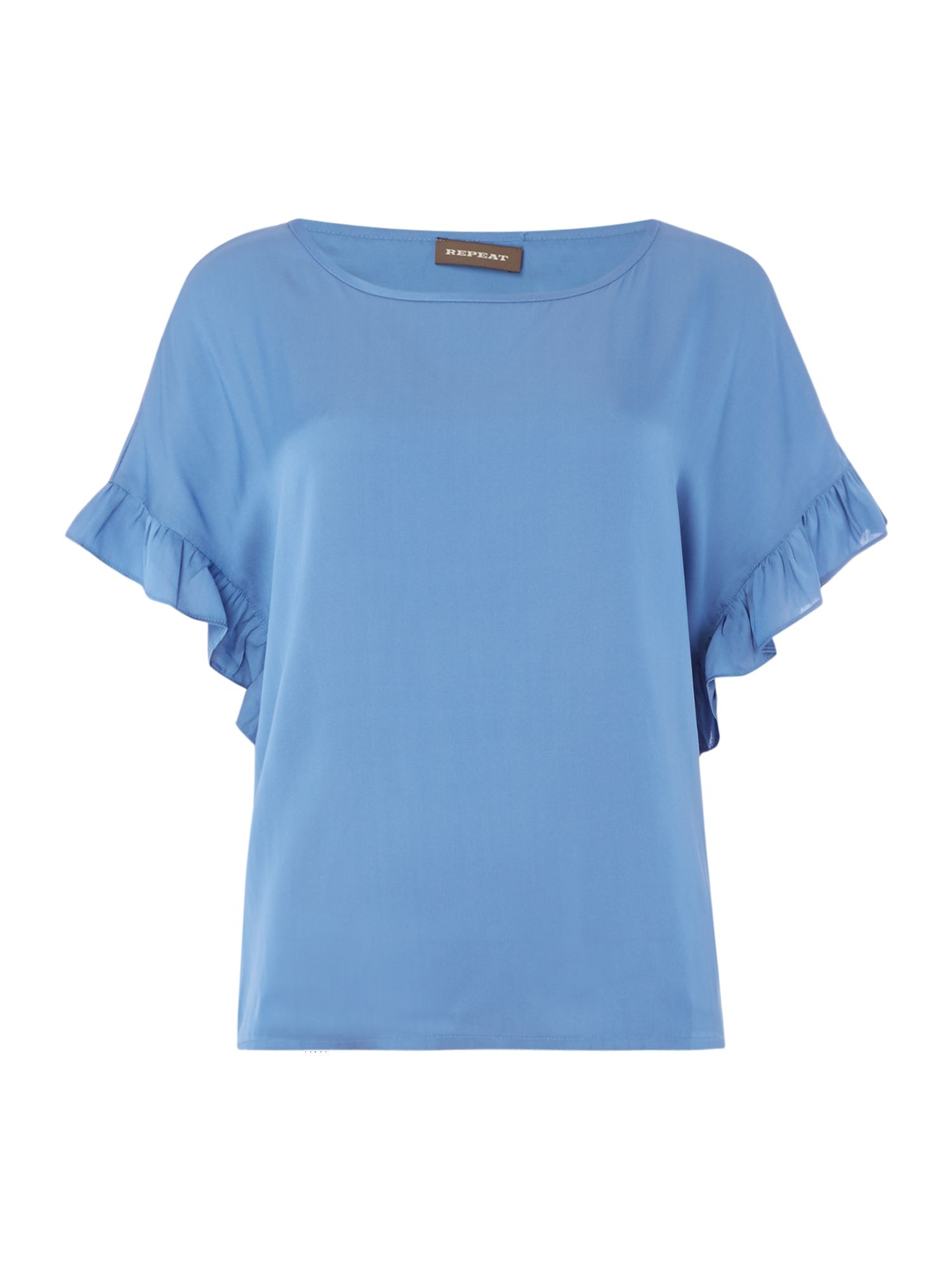 Repeat Cashmere Frill sleeve detail blouse, Blue