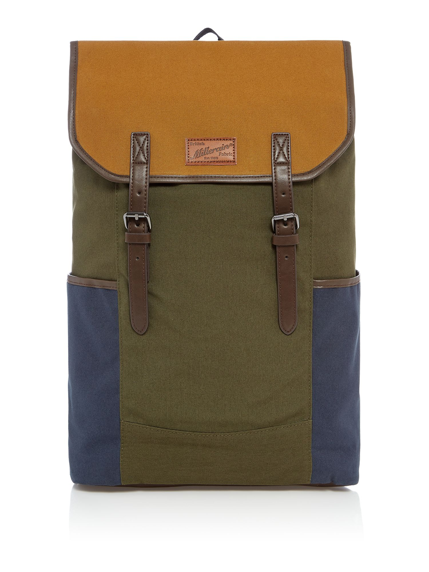 Criminal British Fabric Colour Block Cycle back pack, Multi-Coloured