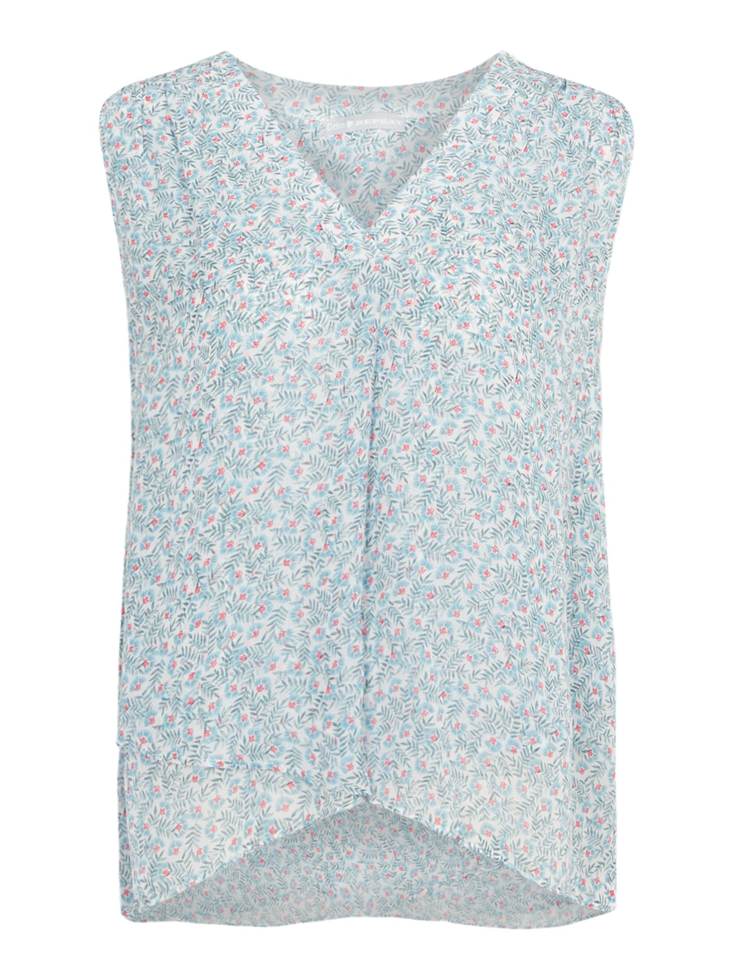 Repeat Cashmere Floral sleeveless top, Multi-Coloured