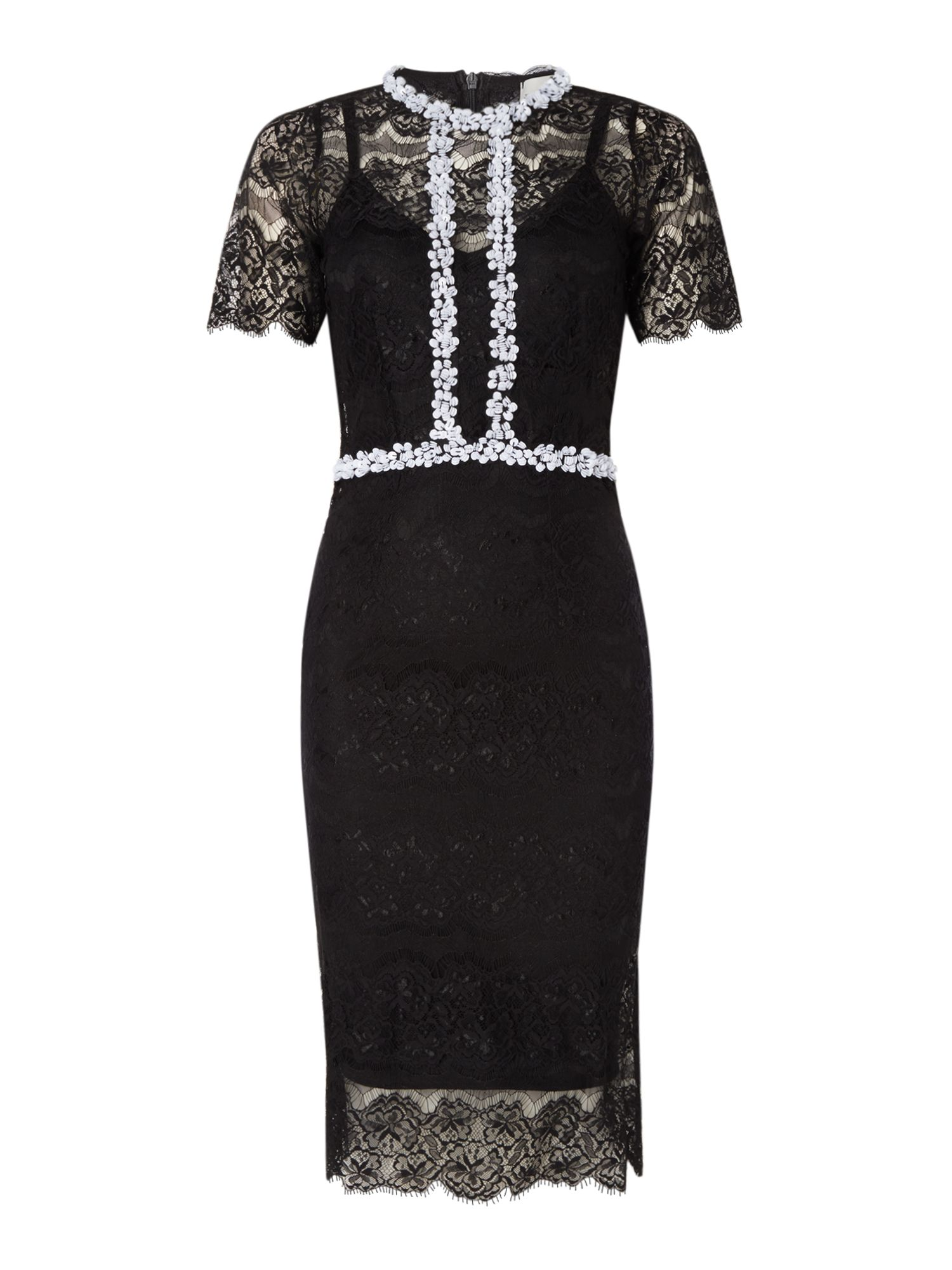 Body Frock Lace short sleeve dress with embellished trim, Black