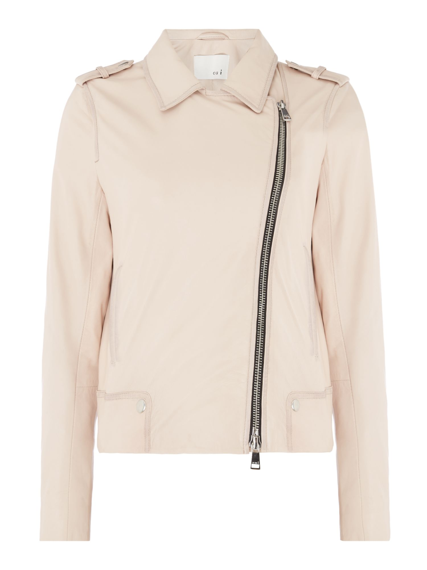 Oui Exclusive leather jacket, Rose
