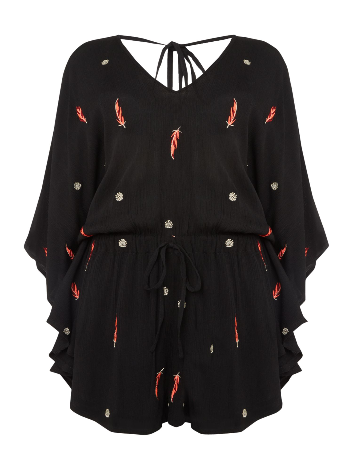 Biba Feather embroidered playsuit, Black