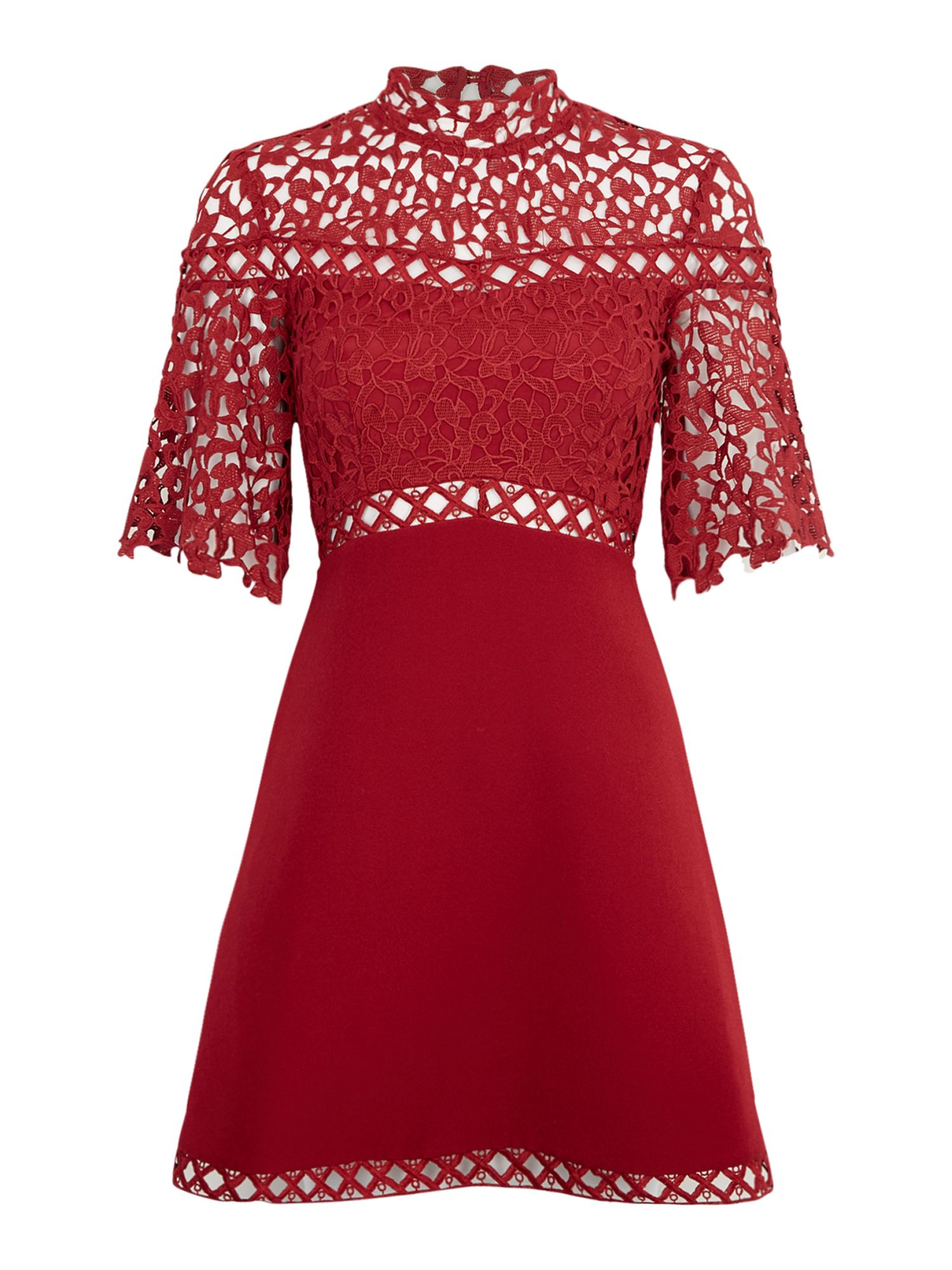 Keepsake Fit and flare lace dress, Red
