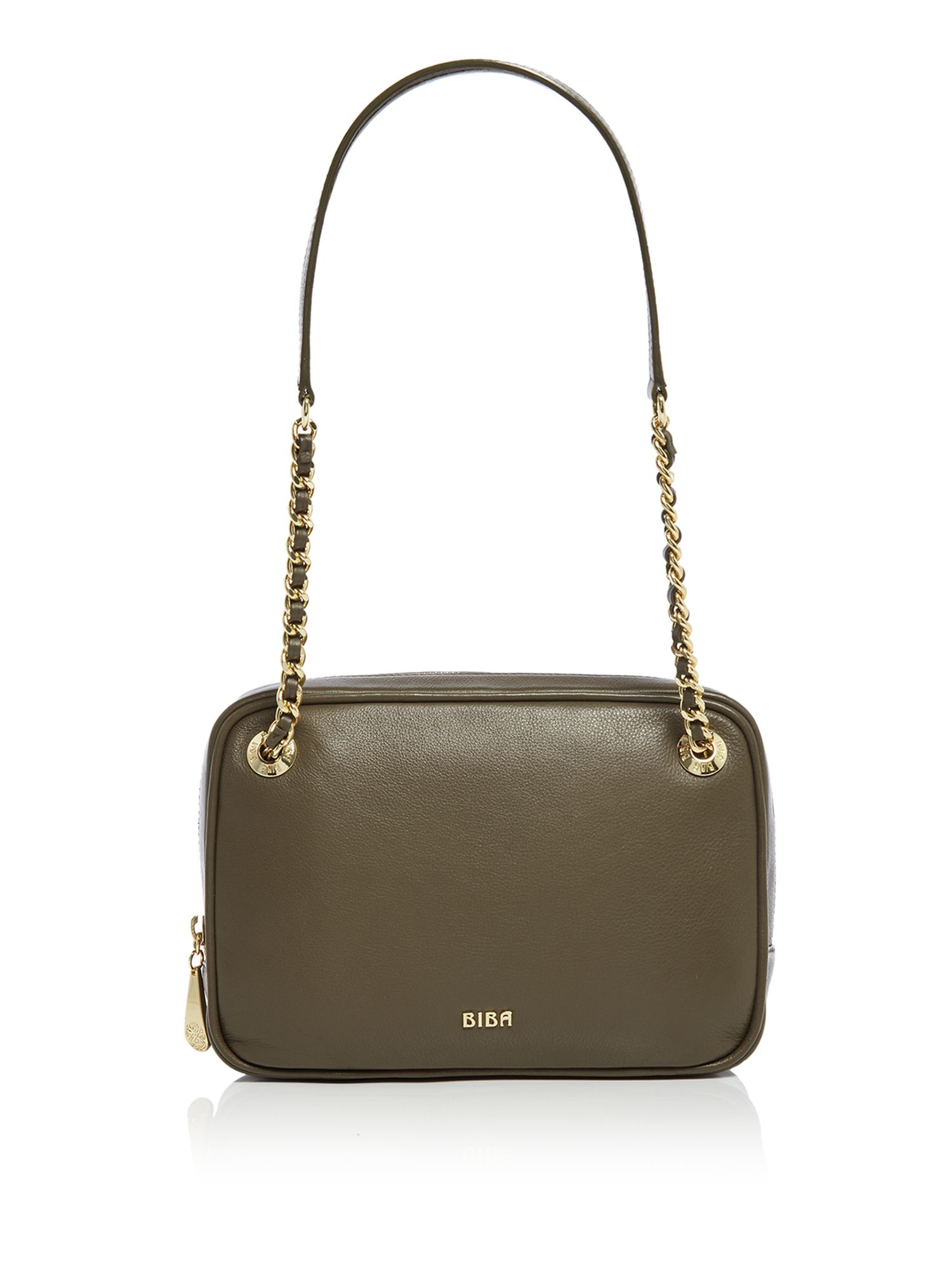 Biba Angela Chain Shoulder Leather Bag, Khaki