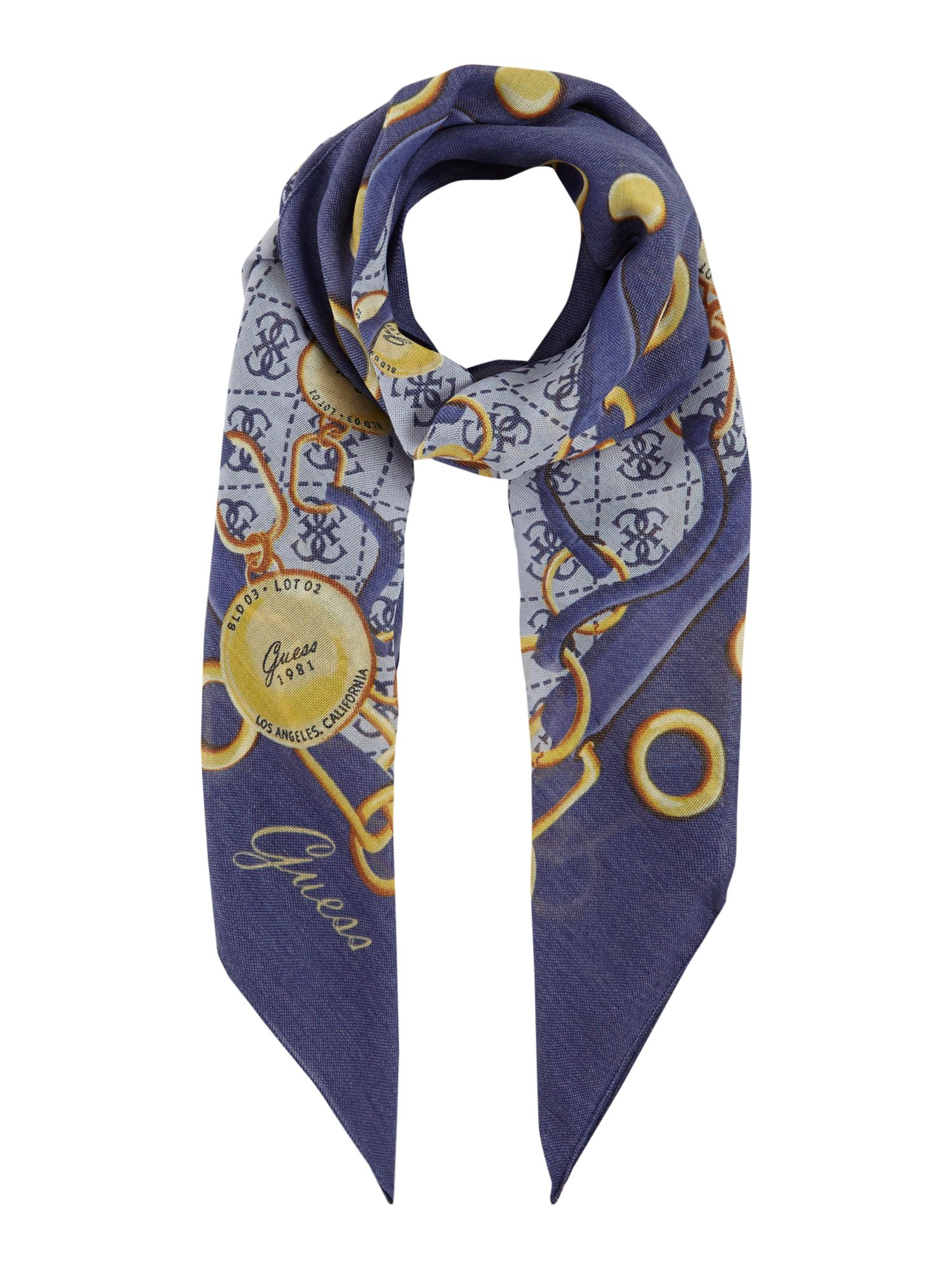 Guess Chain and logo jacqui scarf, Blue