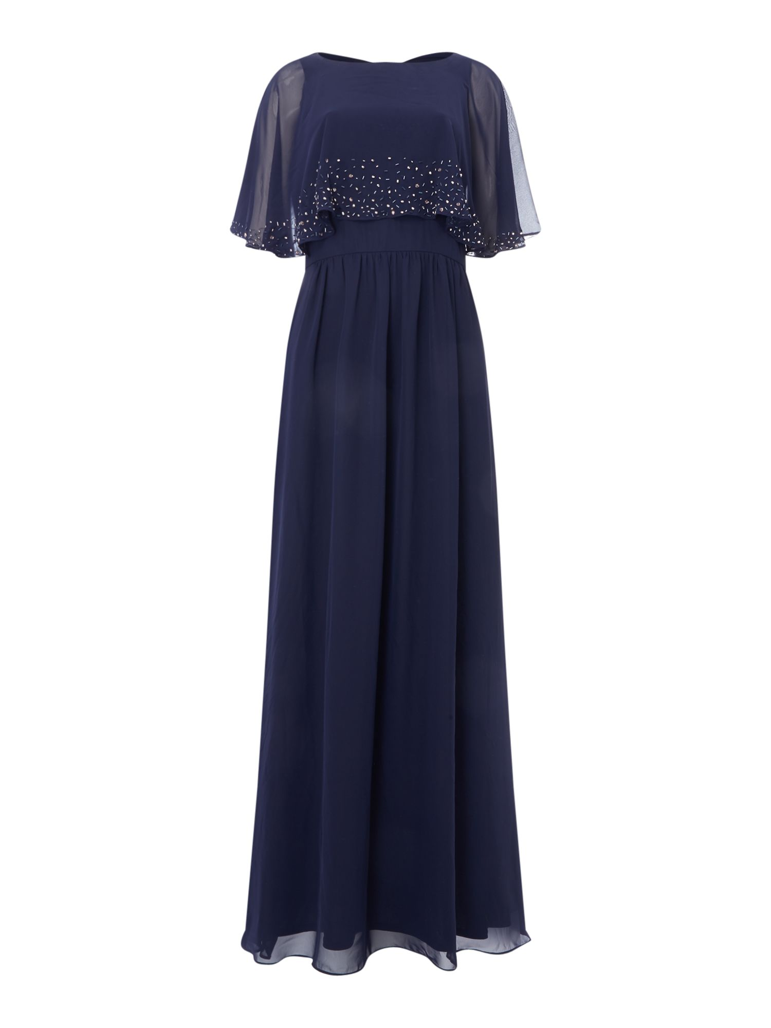 Eliza J High neck embellished gown with overlay, Blue