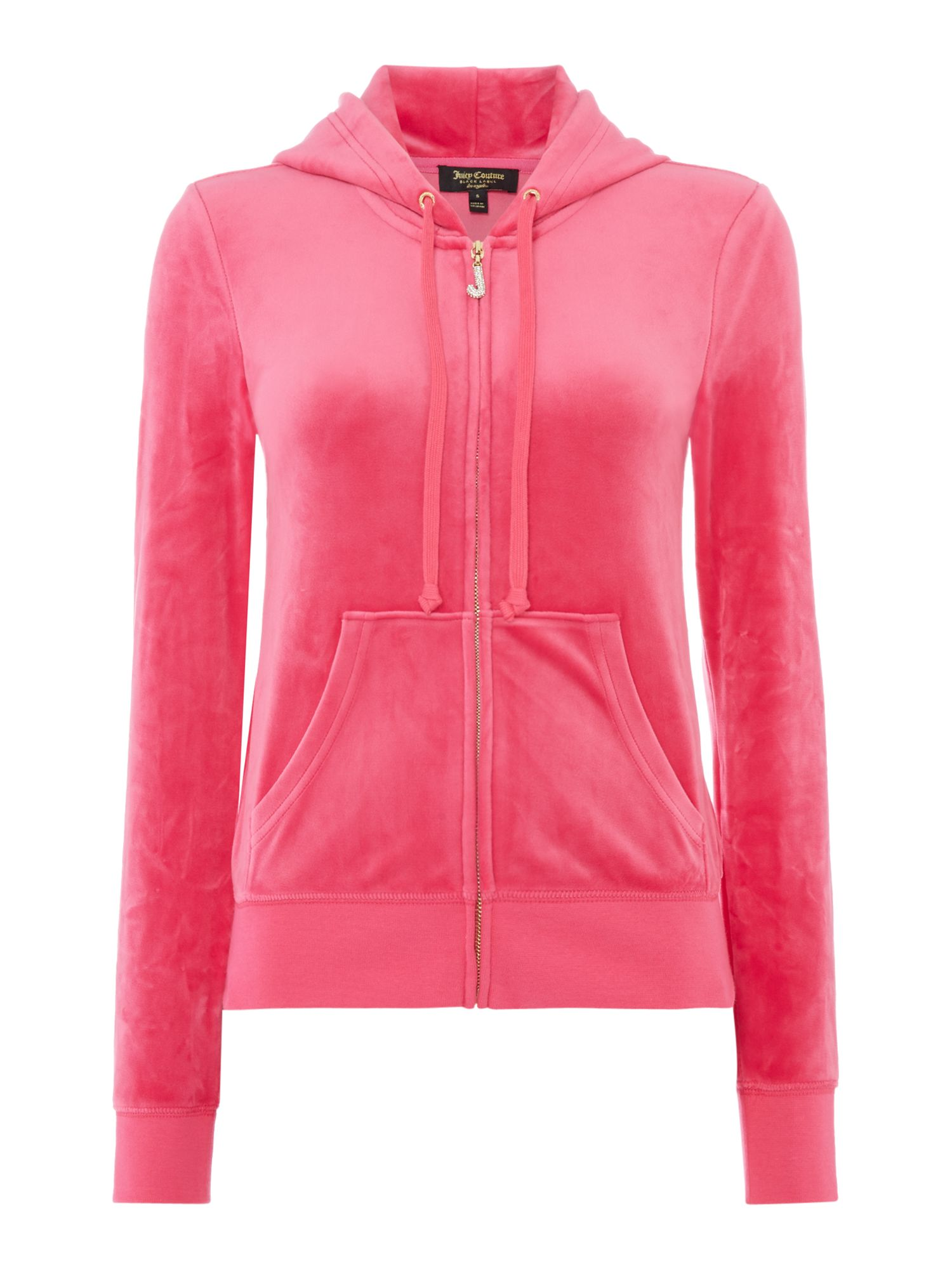 Juicy Black Label Luxe Velour Jacket with Charm Pull, Pink