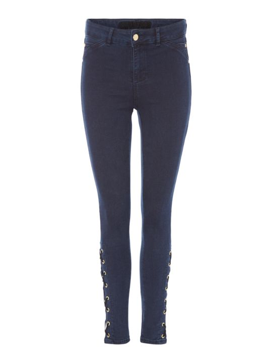 Biba Lace Up Eyelet Detail Jeans