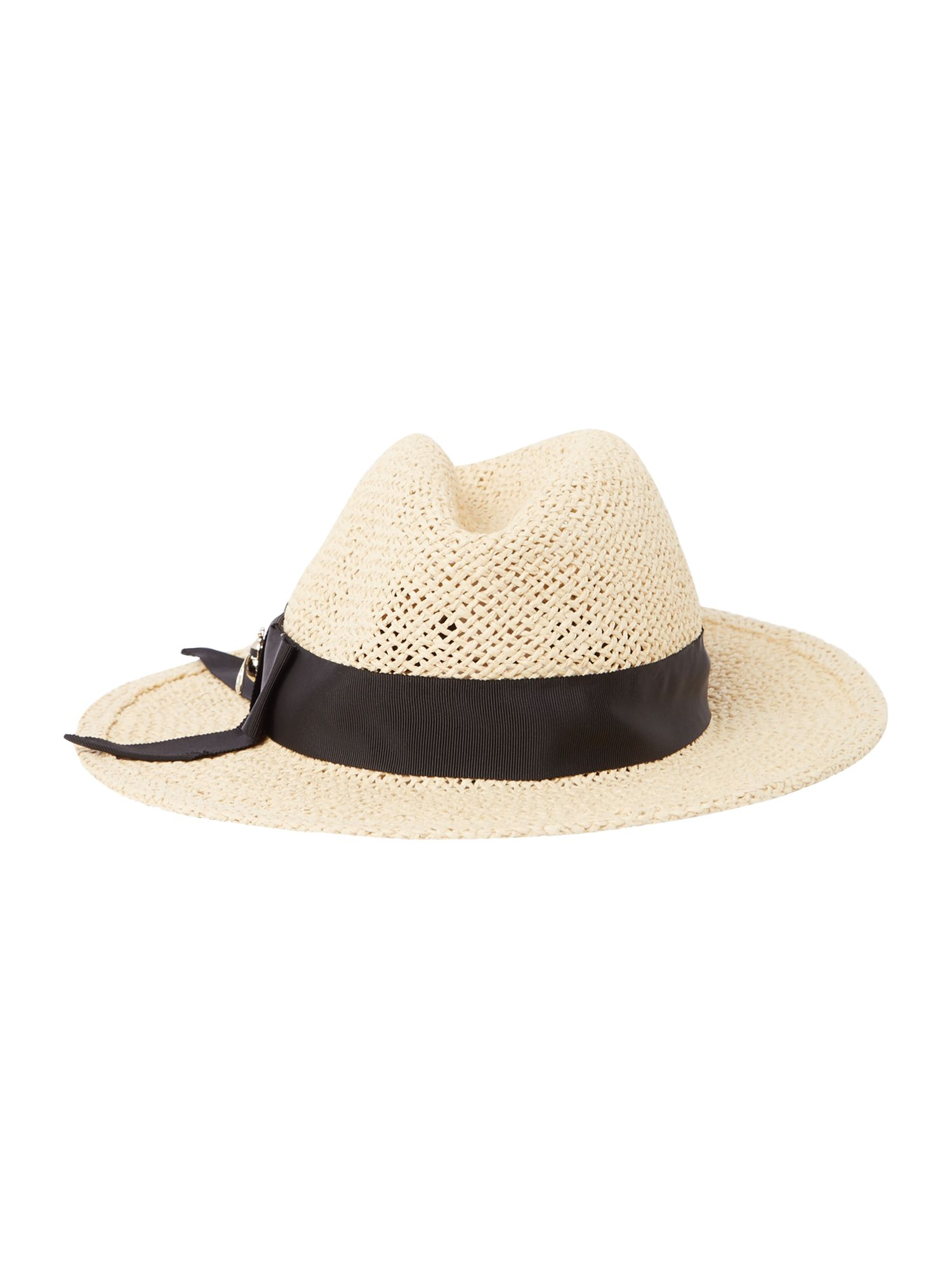 Kate Spade New York Bee hardware straw trilby hat, Natural