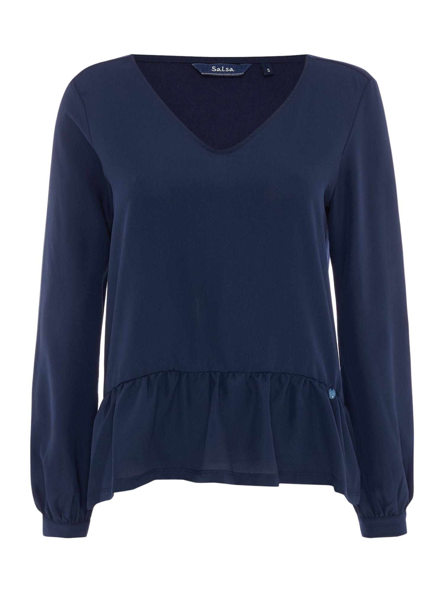 Salsa Long Sleeve V-Neck Top With Ruffle Detail, Blue
