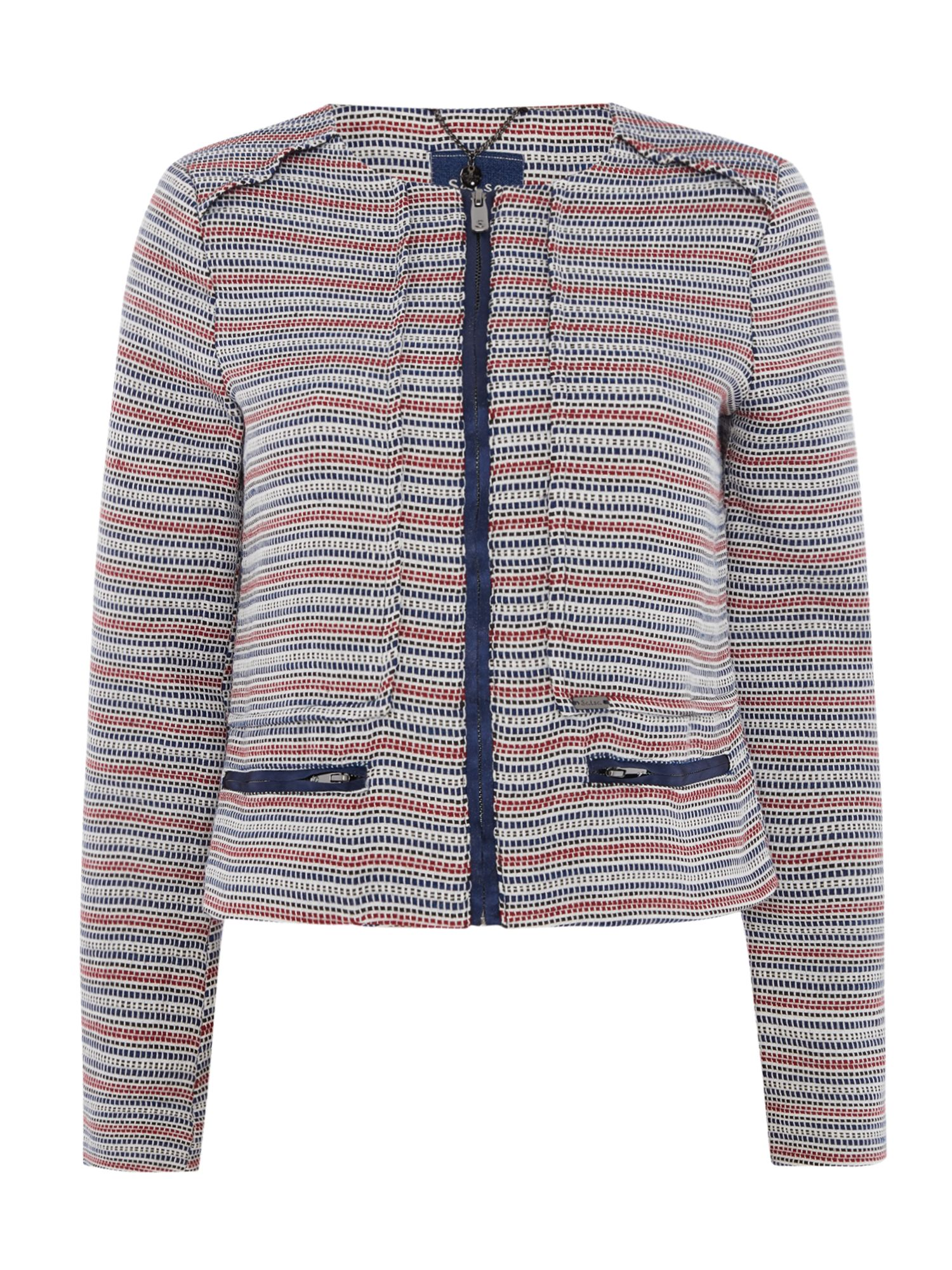 Salsa Striped Zip Up Short Fitted Jacket, Multi-Coloured
