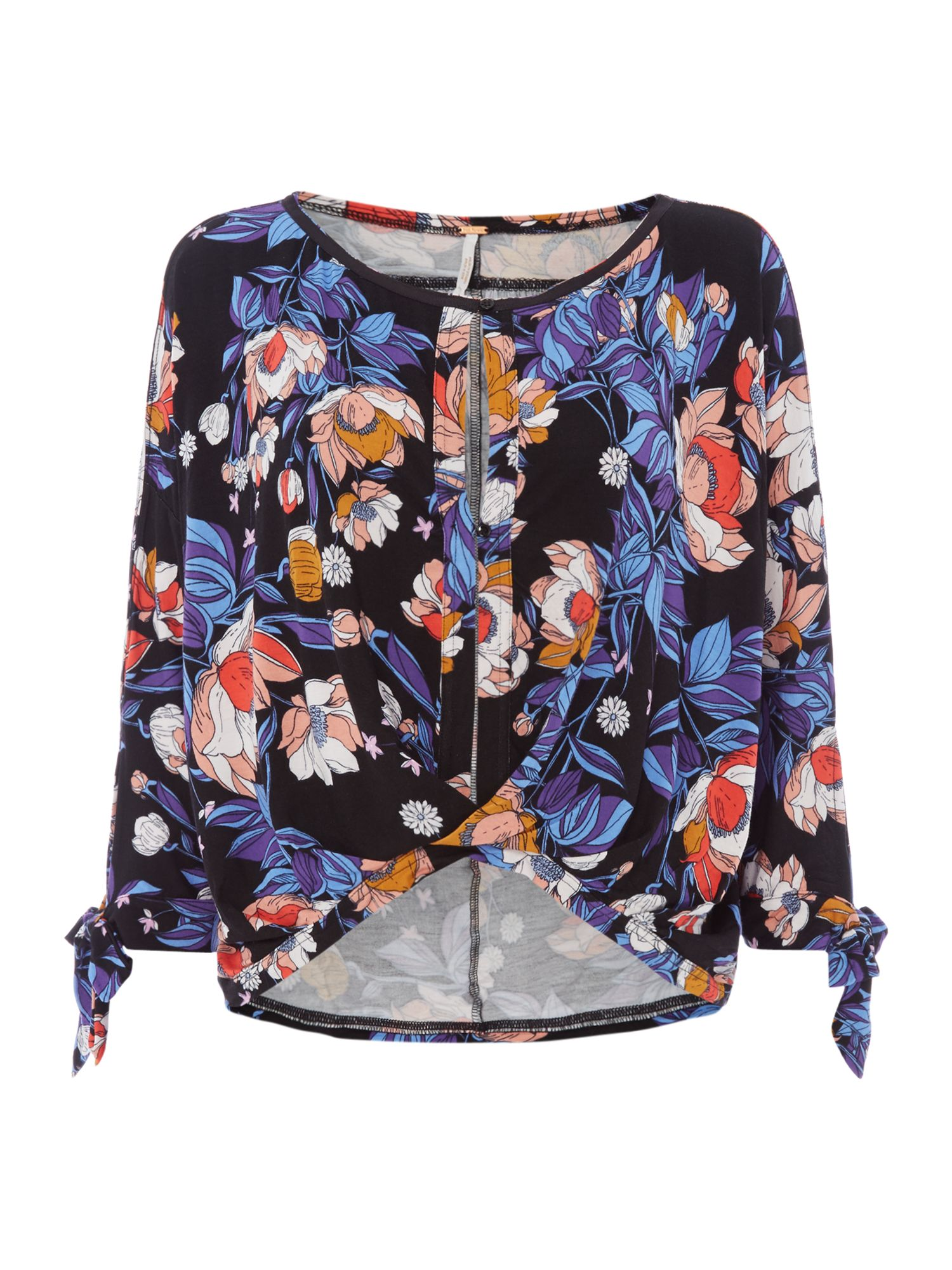 Free People Keepin` On Floral Printed Long Tie Sleeve Top, Black