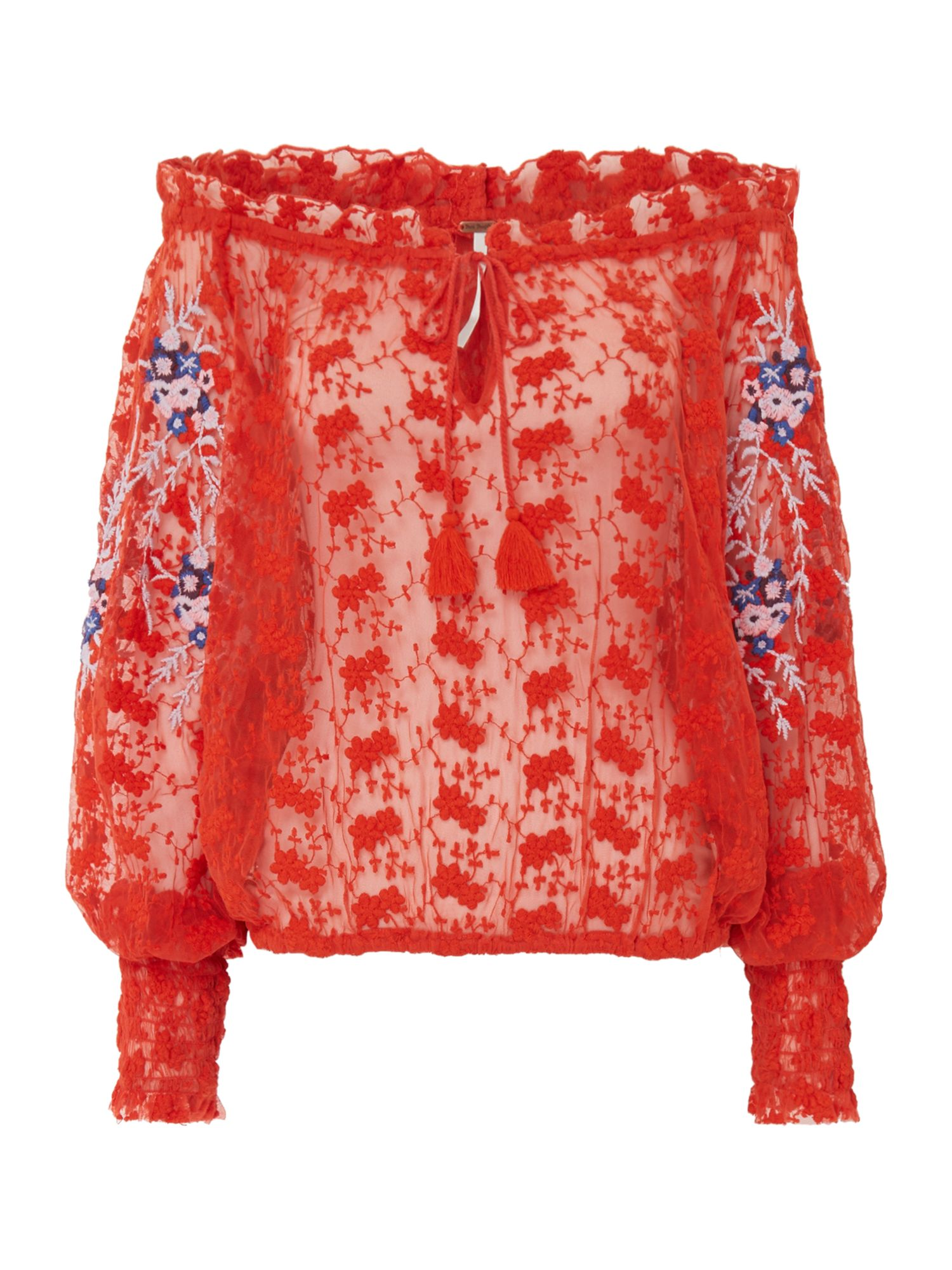 Free People Jubilee Crochet Embroidered Long Sleeve, Red