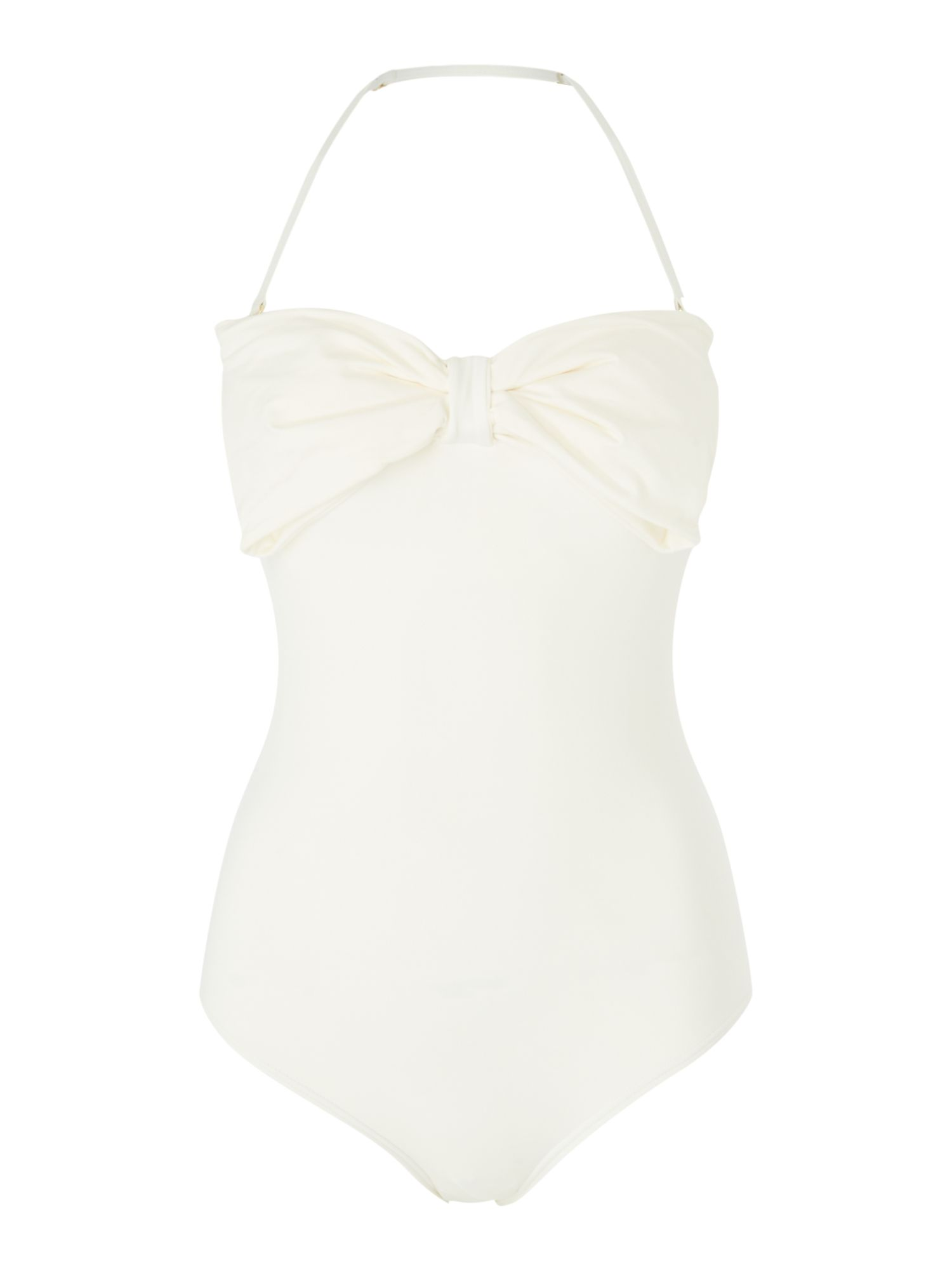 Kate Spade New York Bandeau bow swimsuit, Cream