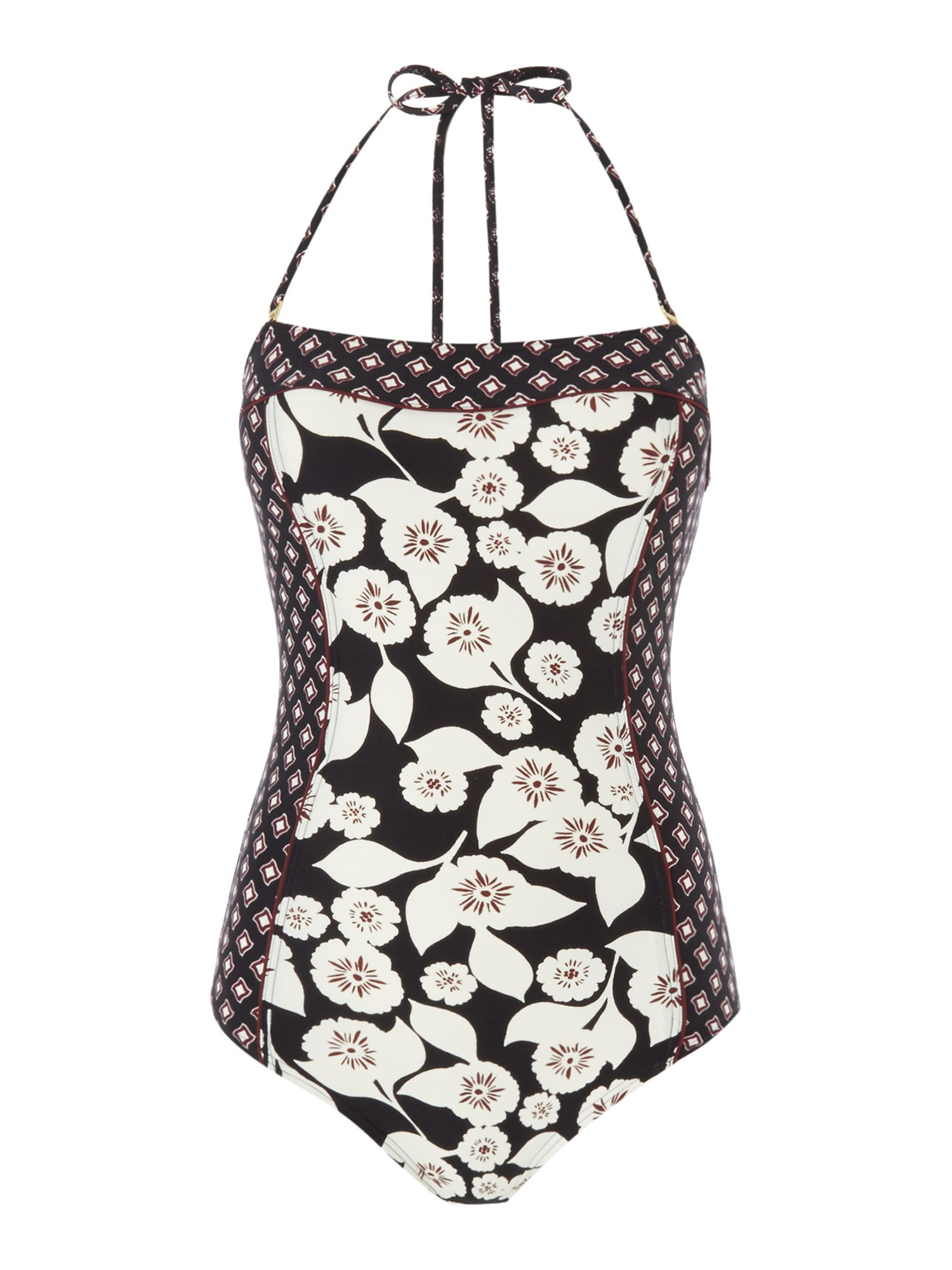 Kate Spade New York Bandeau printed one piece, Black