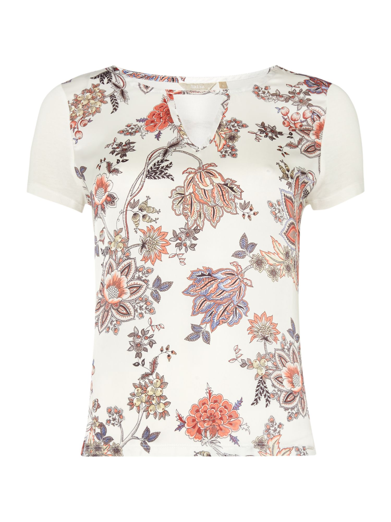 Salsa Short Sleeve Floral T-Shirt With Cut Out V-Neck, Multi-Coloured