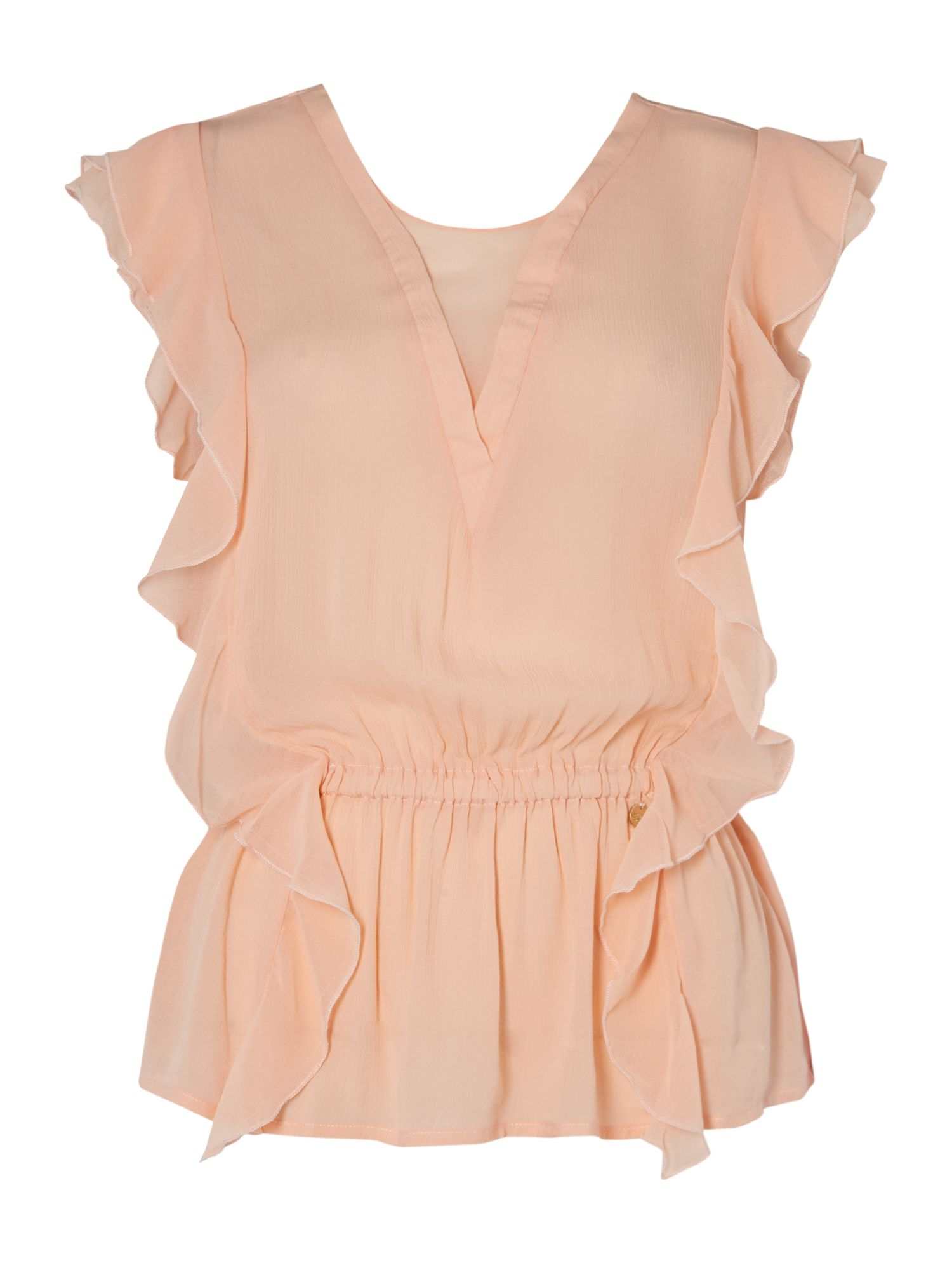 Salsa Short Sleeve V-Neck Top With Ruffle Detail, Pastel Pink