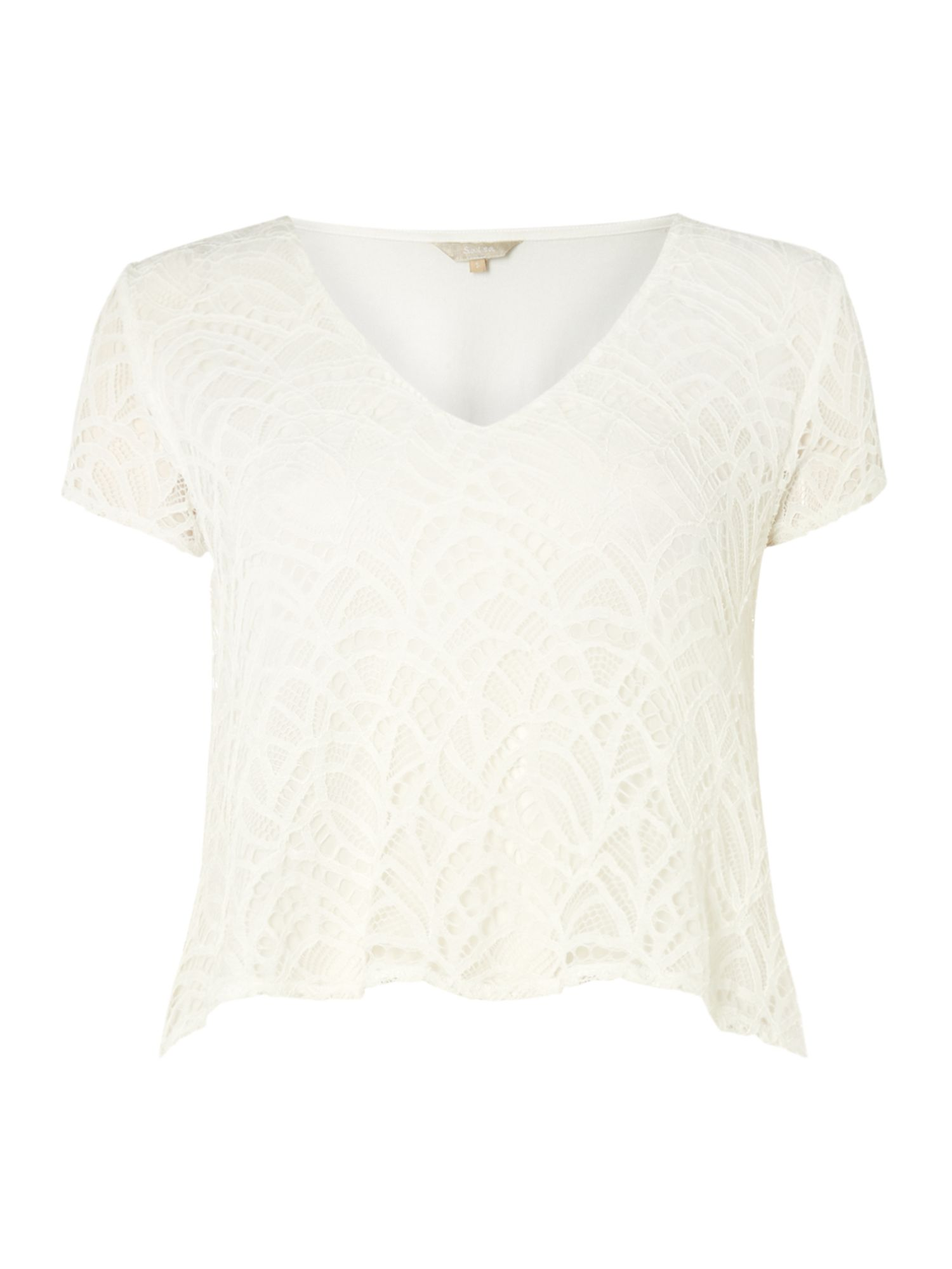 Salsa Short Sleeve V-Neck Lace Top With Sheer Hem, White