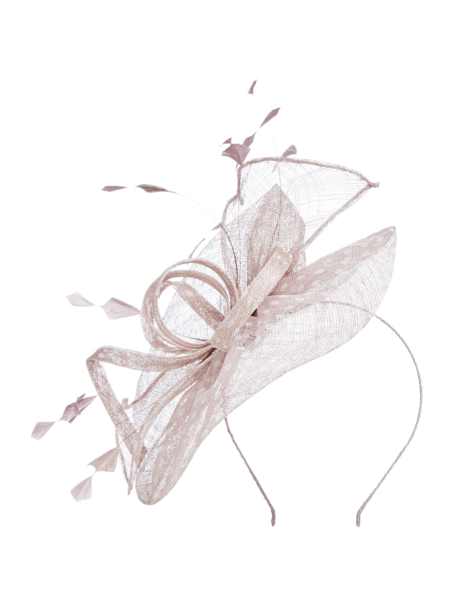 Suzanne Bettley Sinamay swirl fascinator on band, Taupe