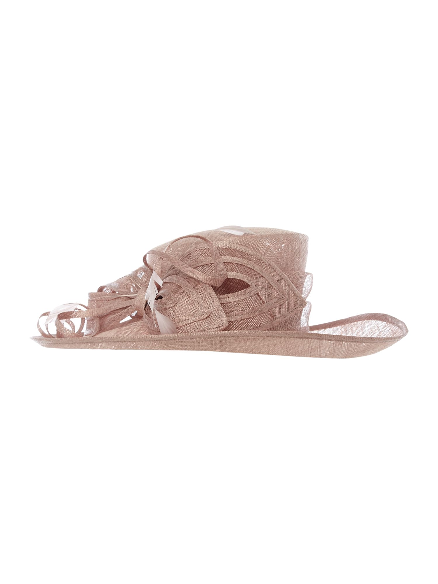 Suzanne Bettley Sinamay hat with coques and bow detail, Rose
