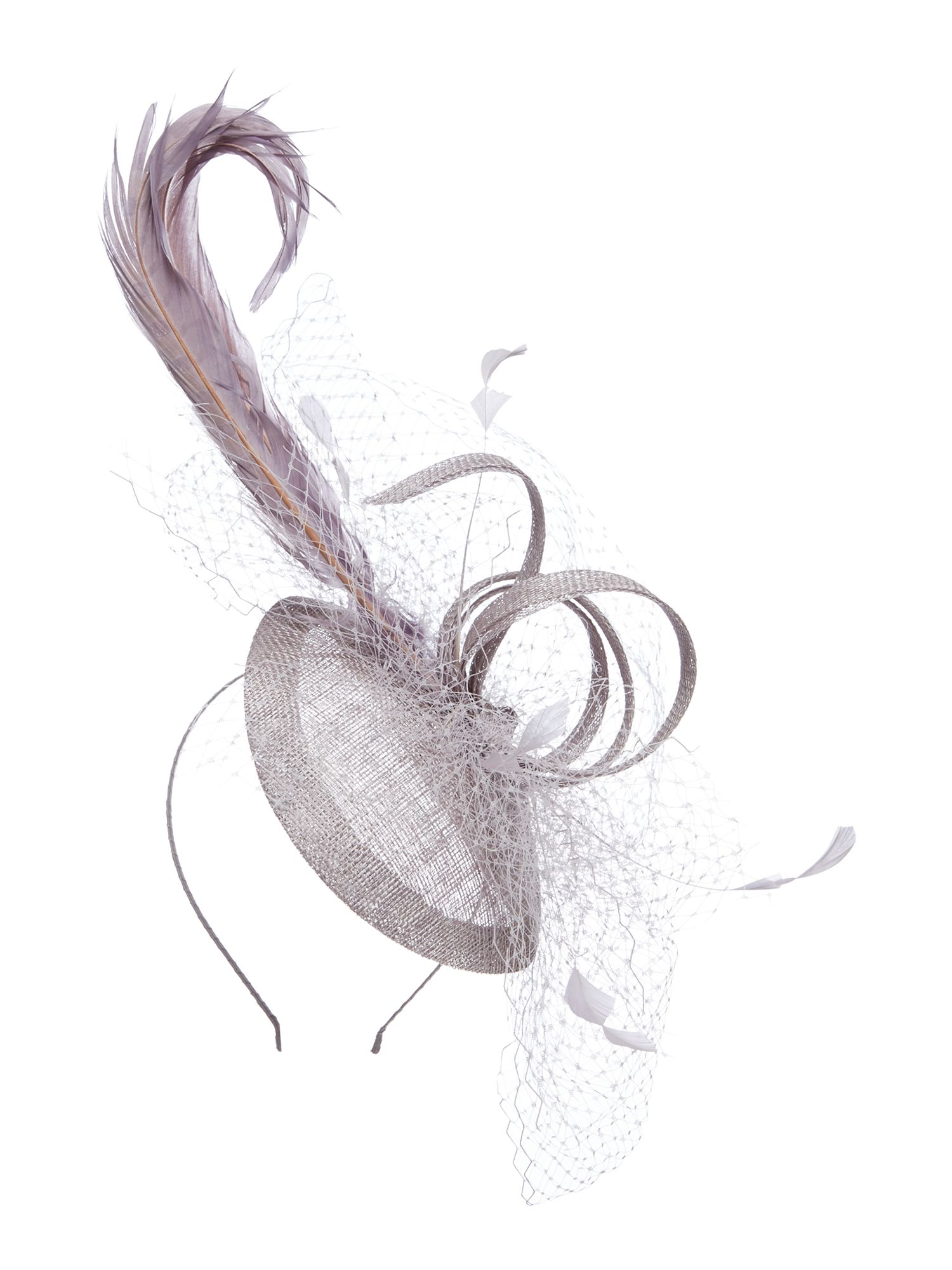 Suzanne Bettley Veiling and quill teardrop fascinator, Grey