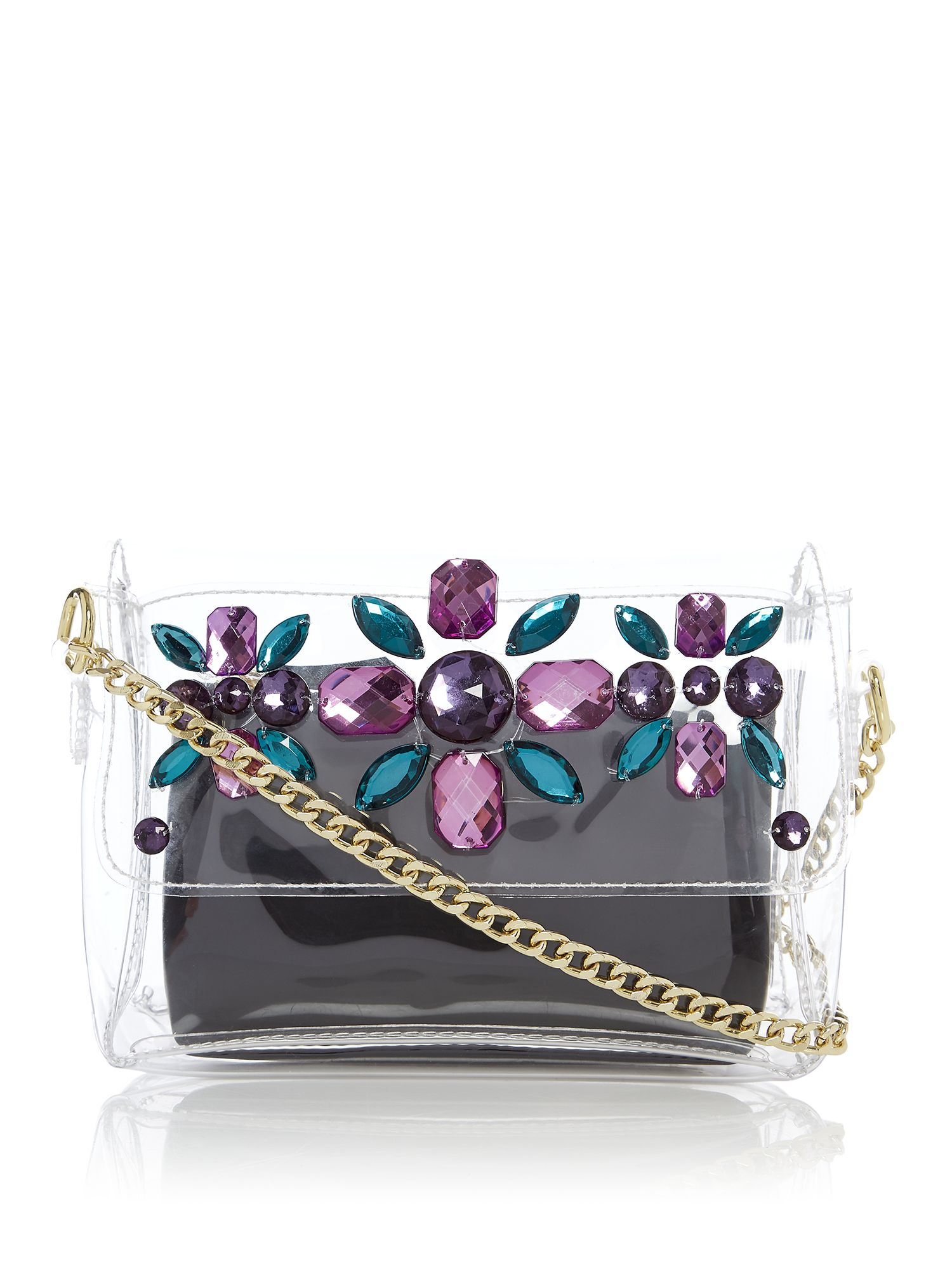 Therapy Clear embellished cross body bag, Multi-Coloured