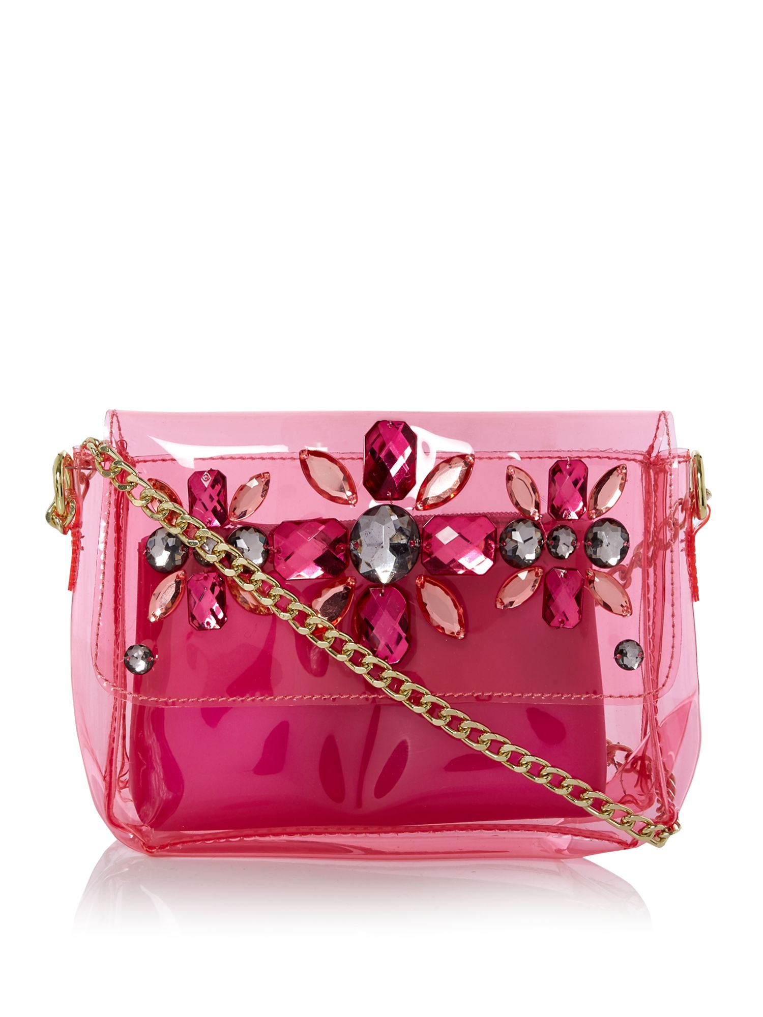 Therapy Clear embellished cross body bag, Pink