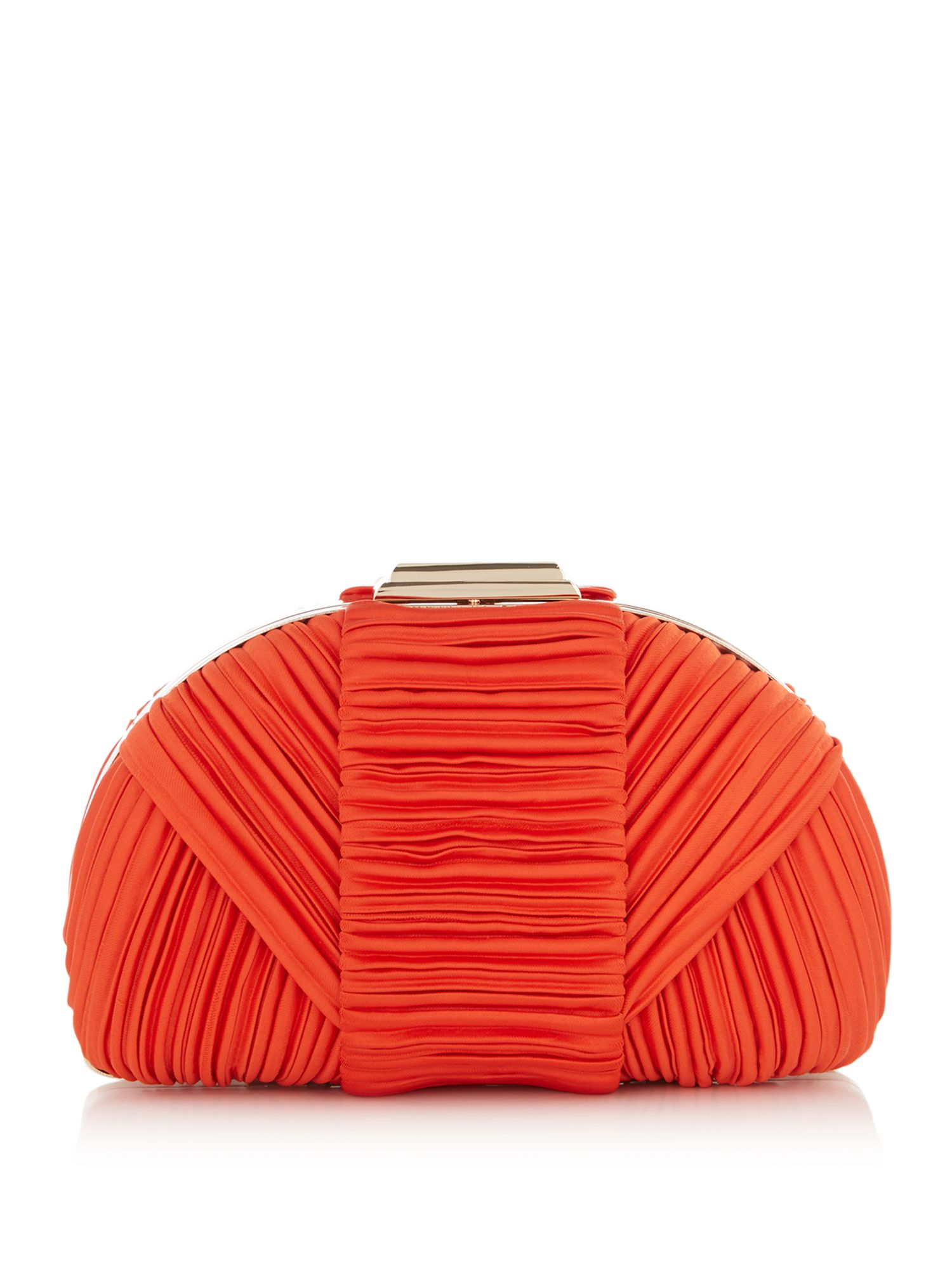 ISSA Cara dome pleated clutch, Coral