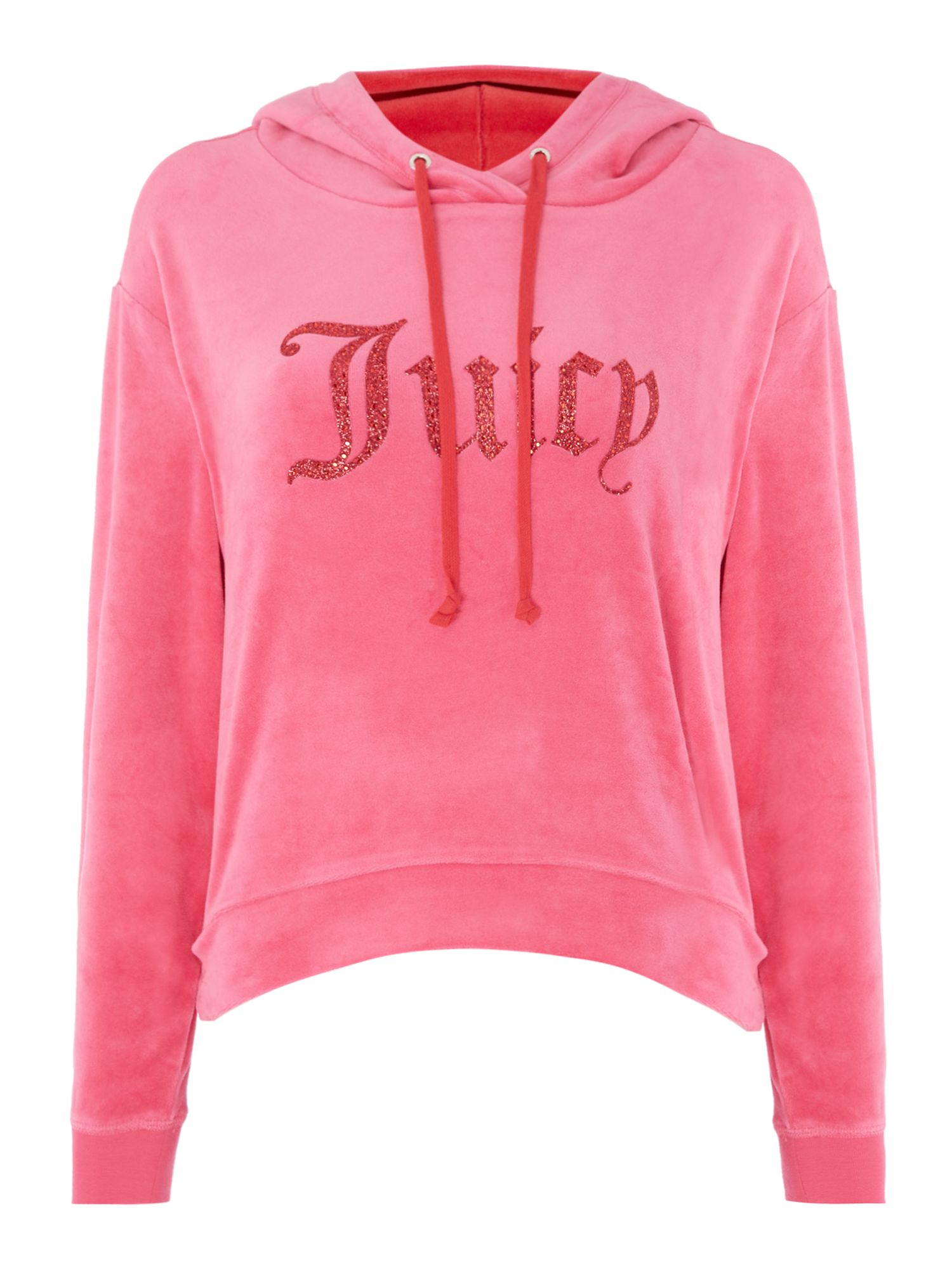 Juicy Black Label Valentine Gothic Logo Hooded Pullover, Pink