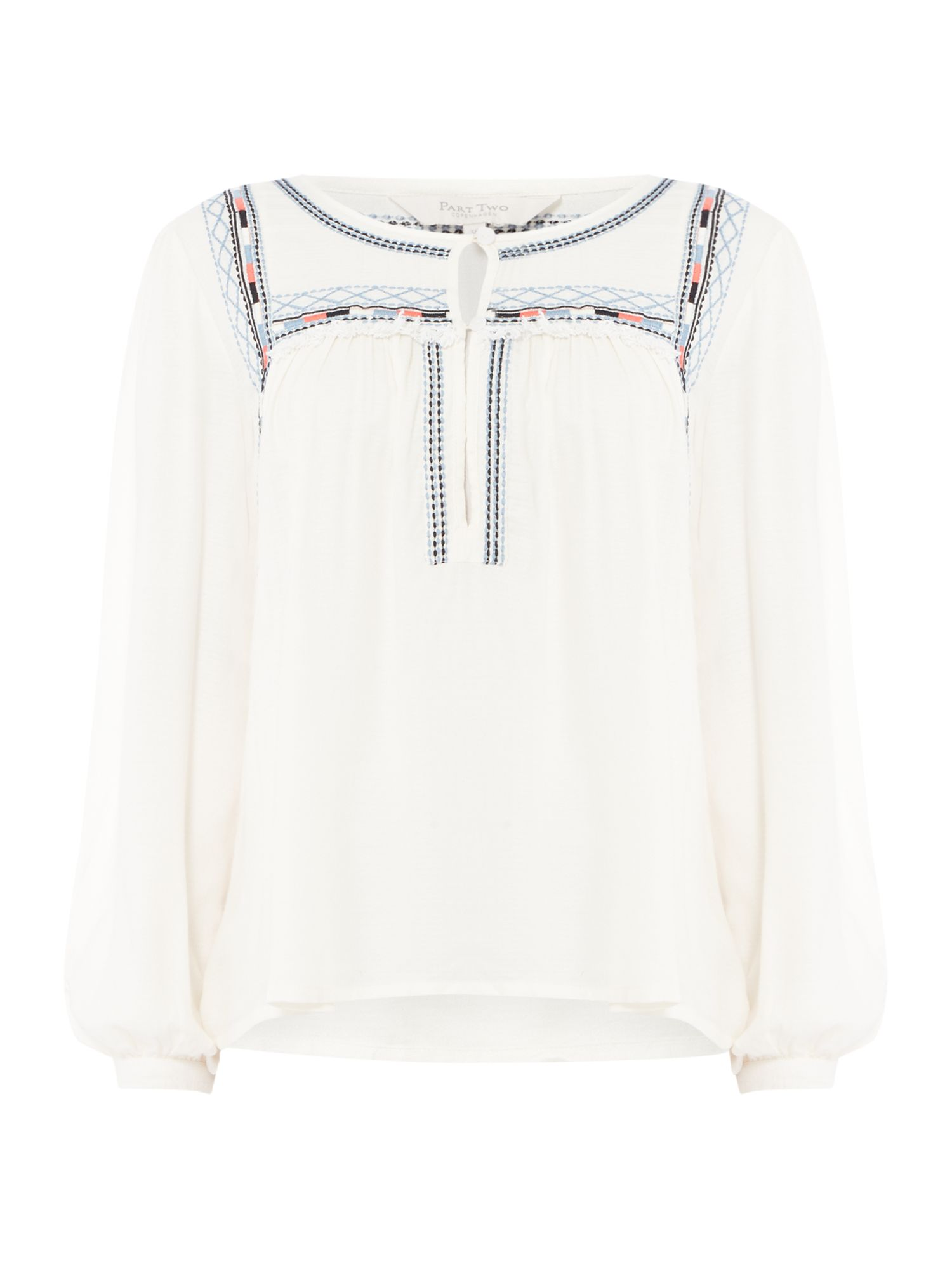 Part Two Keisha trim contrast blouse, Off White