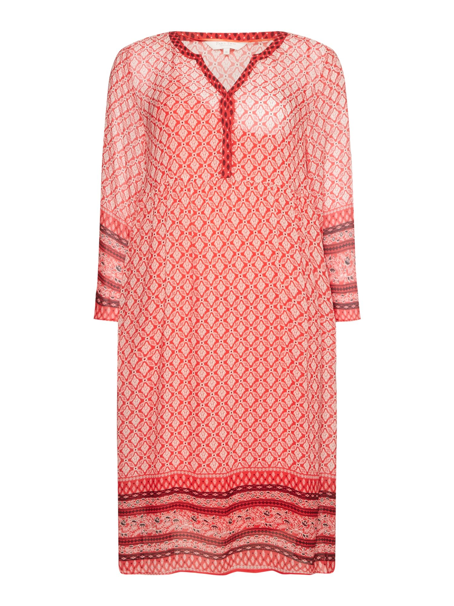 Part Two Helga pattenred tunic dress, Red