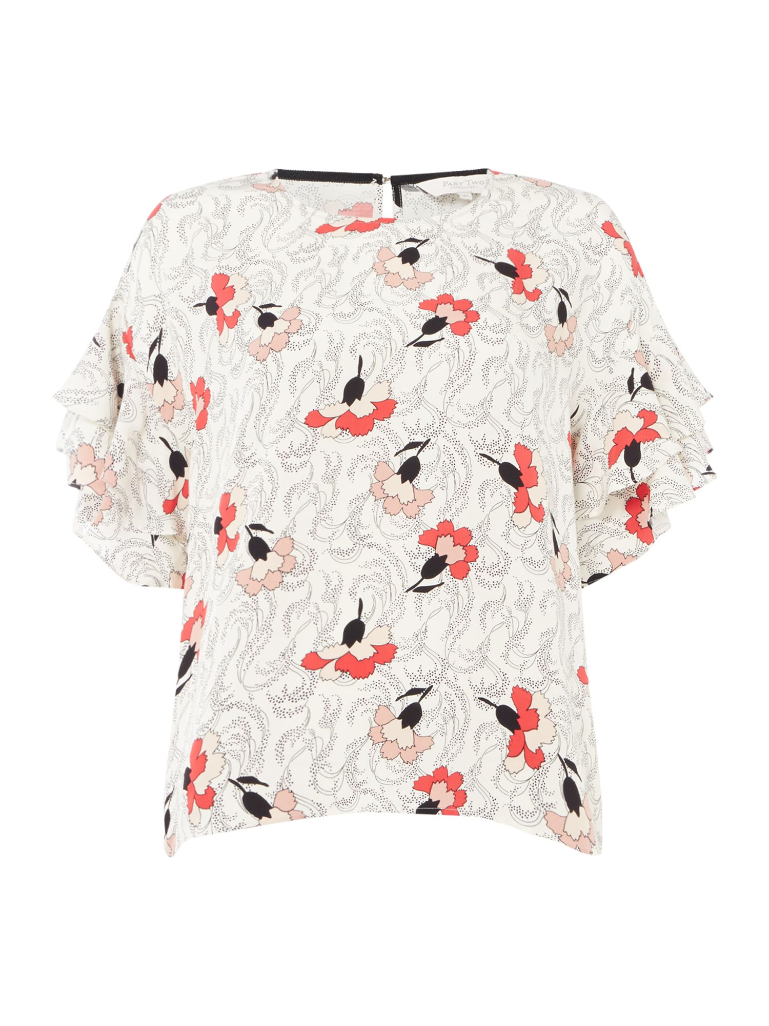 Part Two Kris floral ruffle sleeve top, Cream