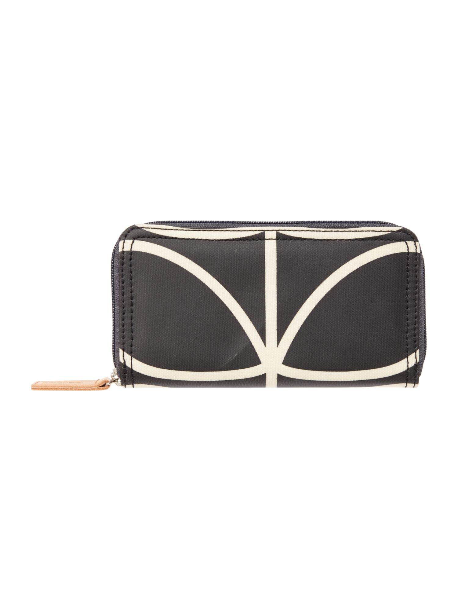 Orla Kiely Core Stem Big Zip Wallet, Black