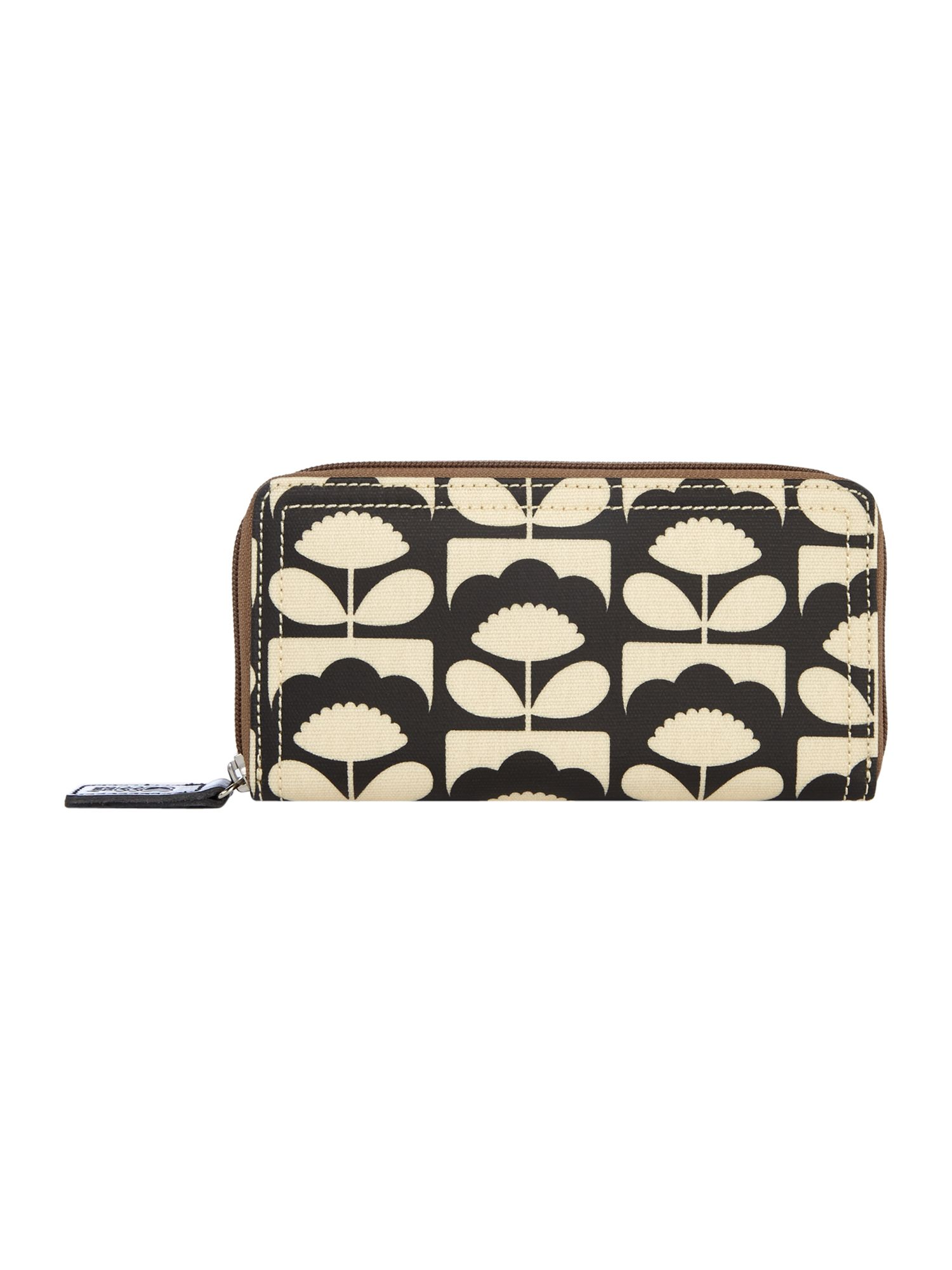 Orla Kiely Big Zip Wallet, Charcoal