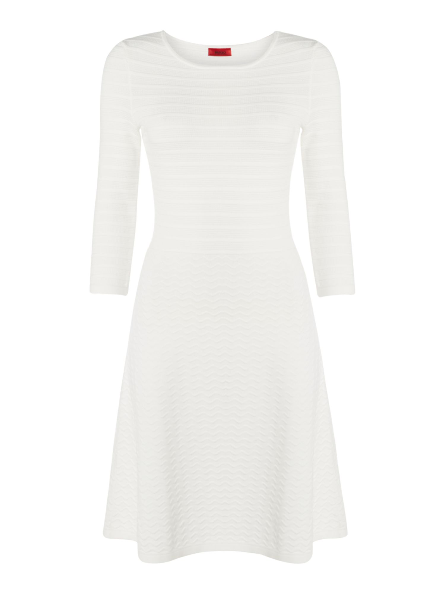 Hugo Sosaria Textured Stripe Jersey Dress, Natural