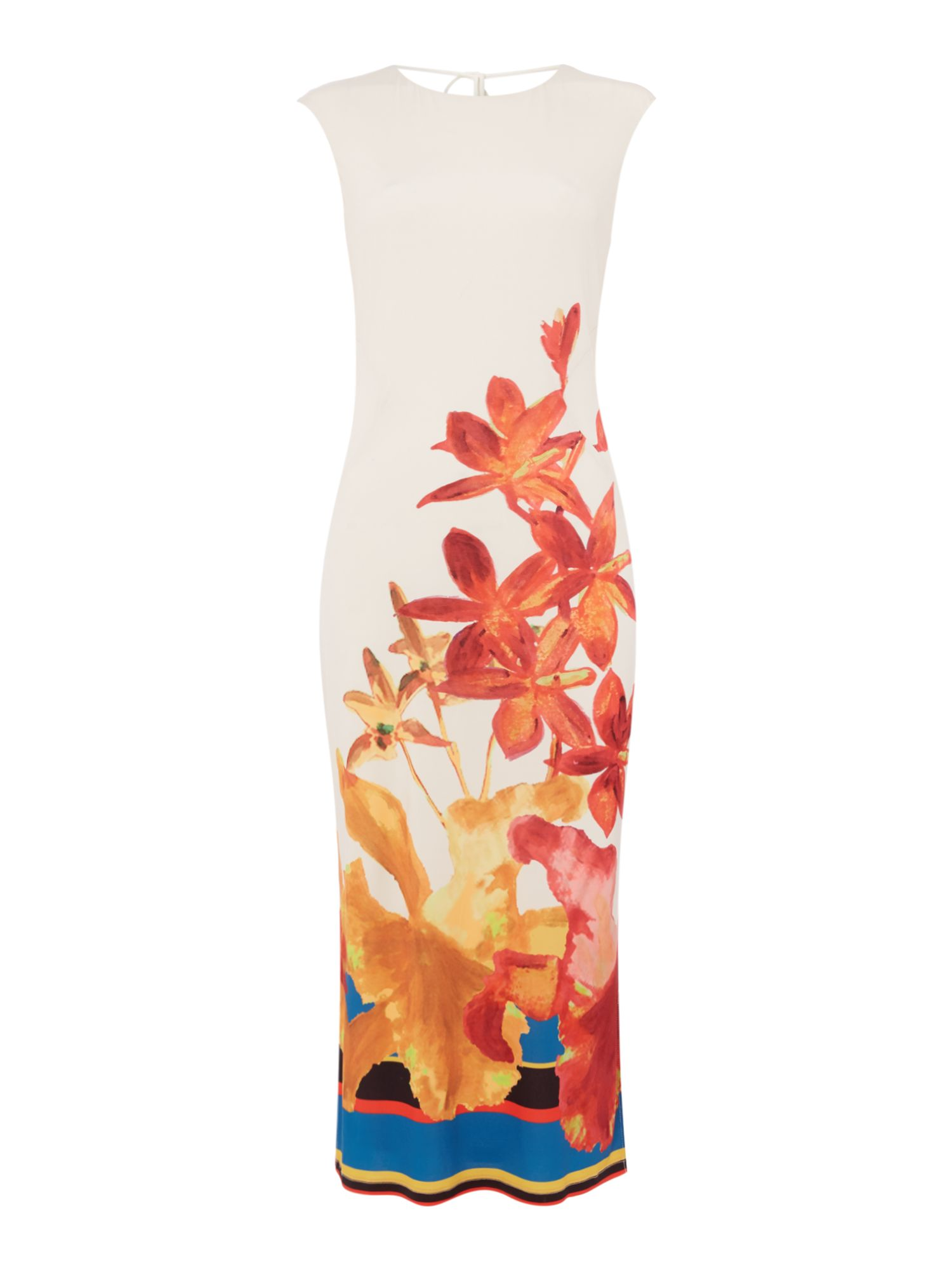 ISSA Eden floral placement dress, Multi-Coloured