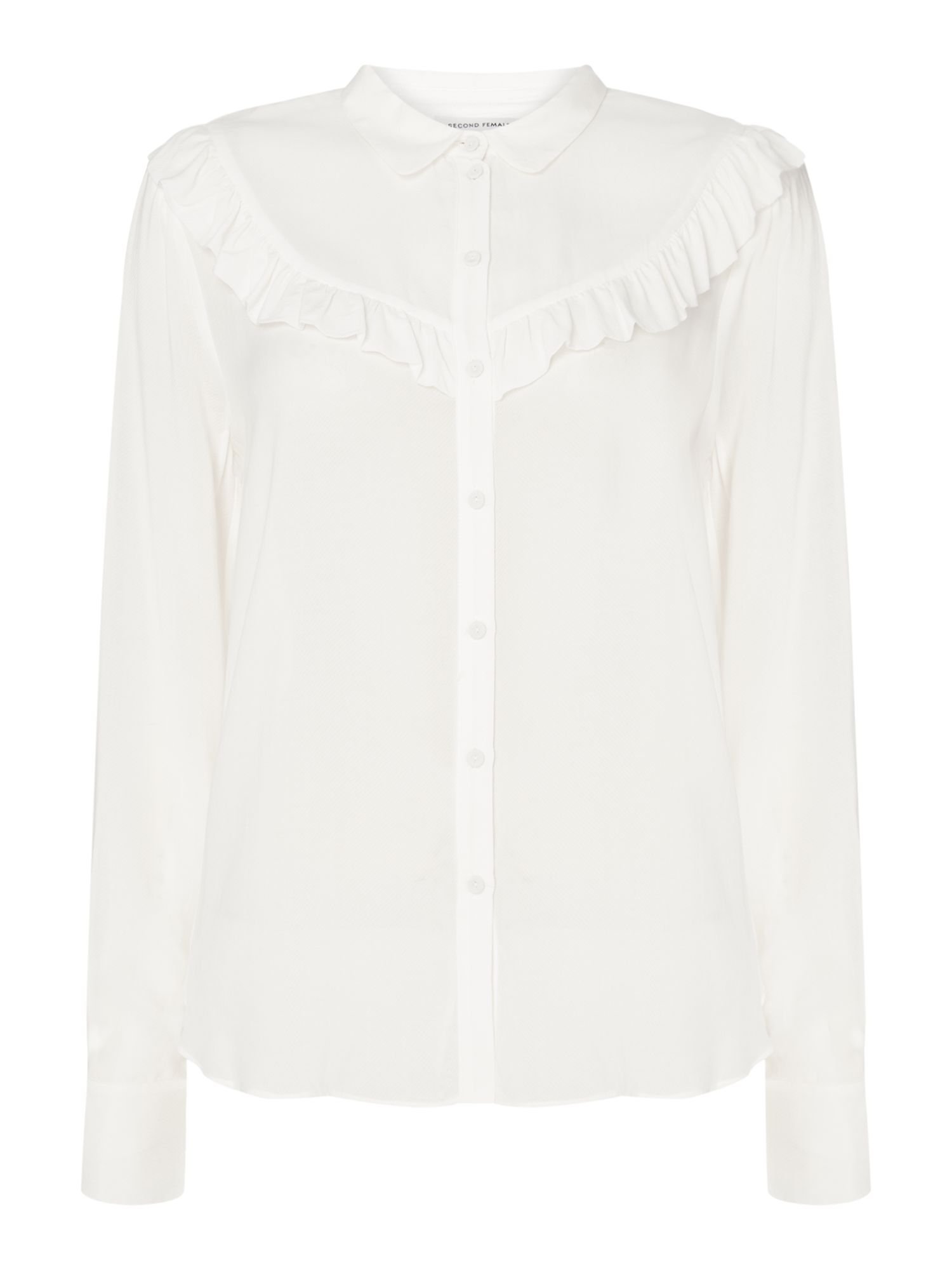 Second Female Bine Long Sleeve Shirt With Frill Detail, White