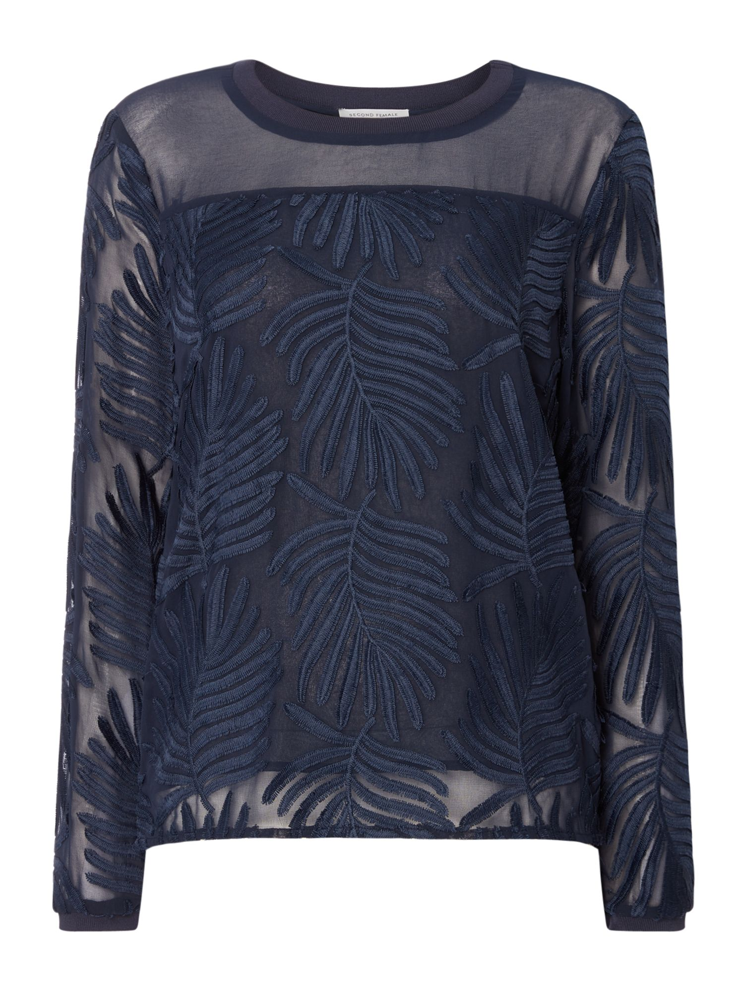 Second Female Lolila Long Sleeve Textured Sheer Blouse, Blue