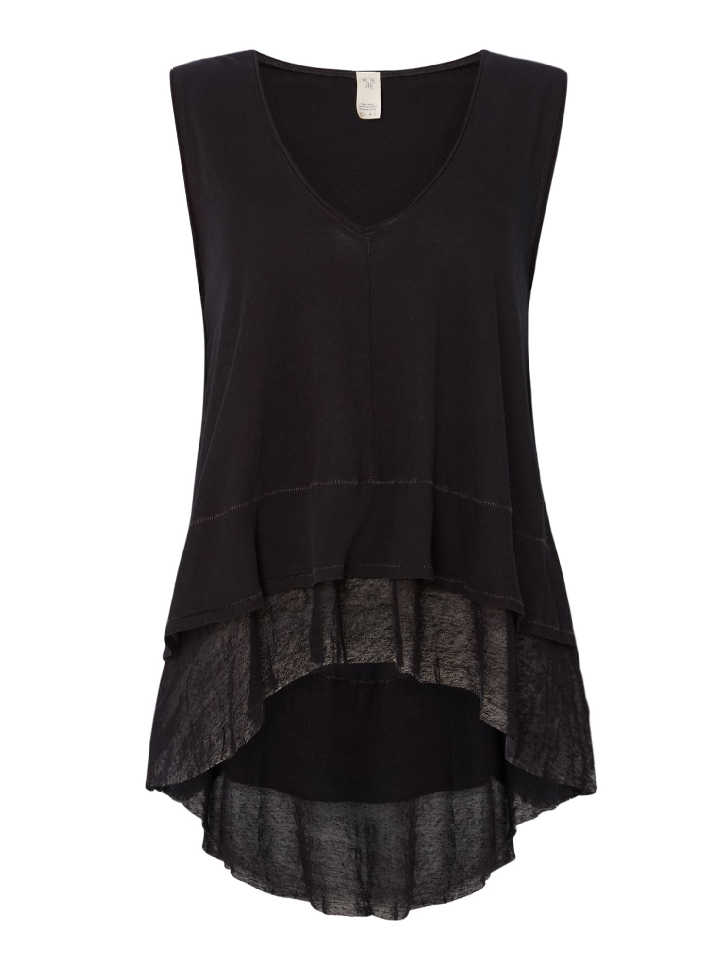 Free People Peachy V-Neck Frayed Hem Vest Top, Black