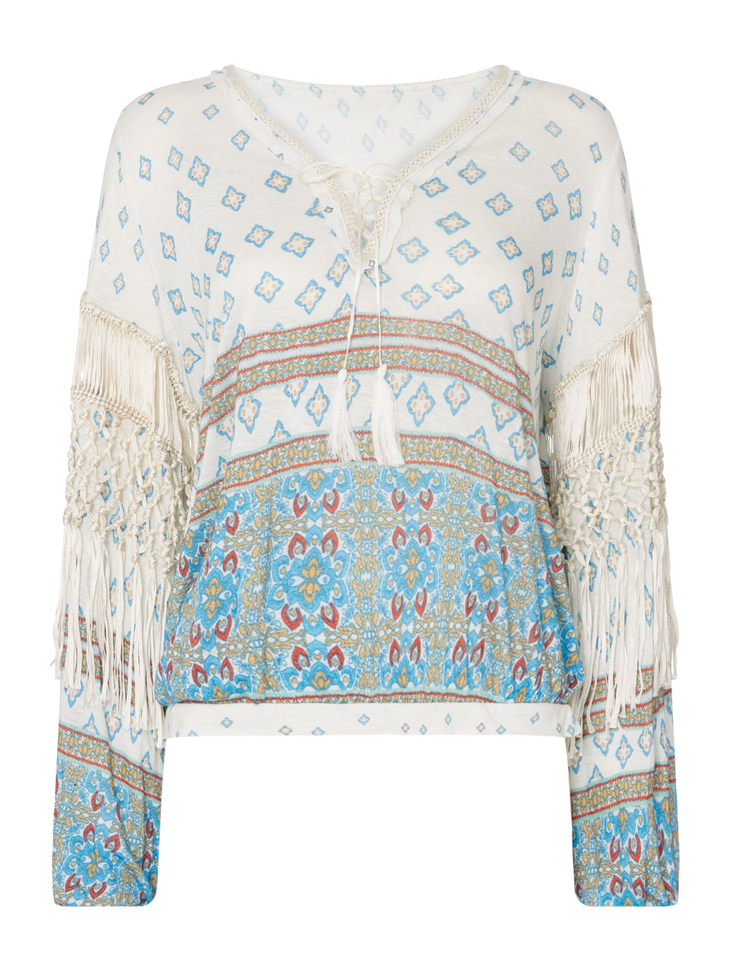 Free People Macra-Maze Me Long Bell Sleeve Printed Top, White