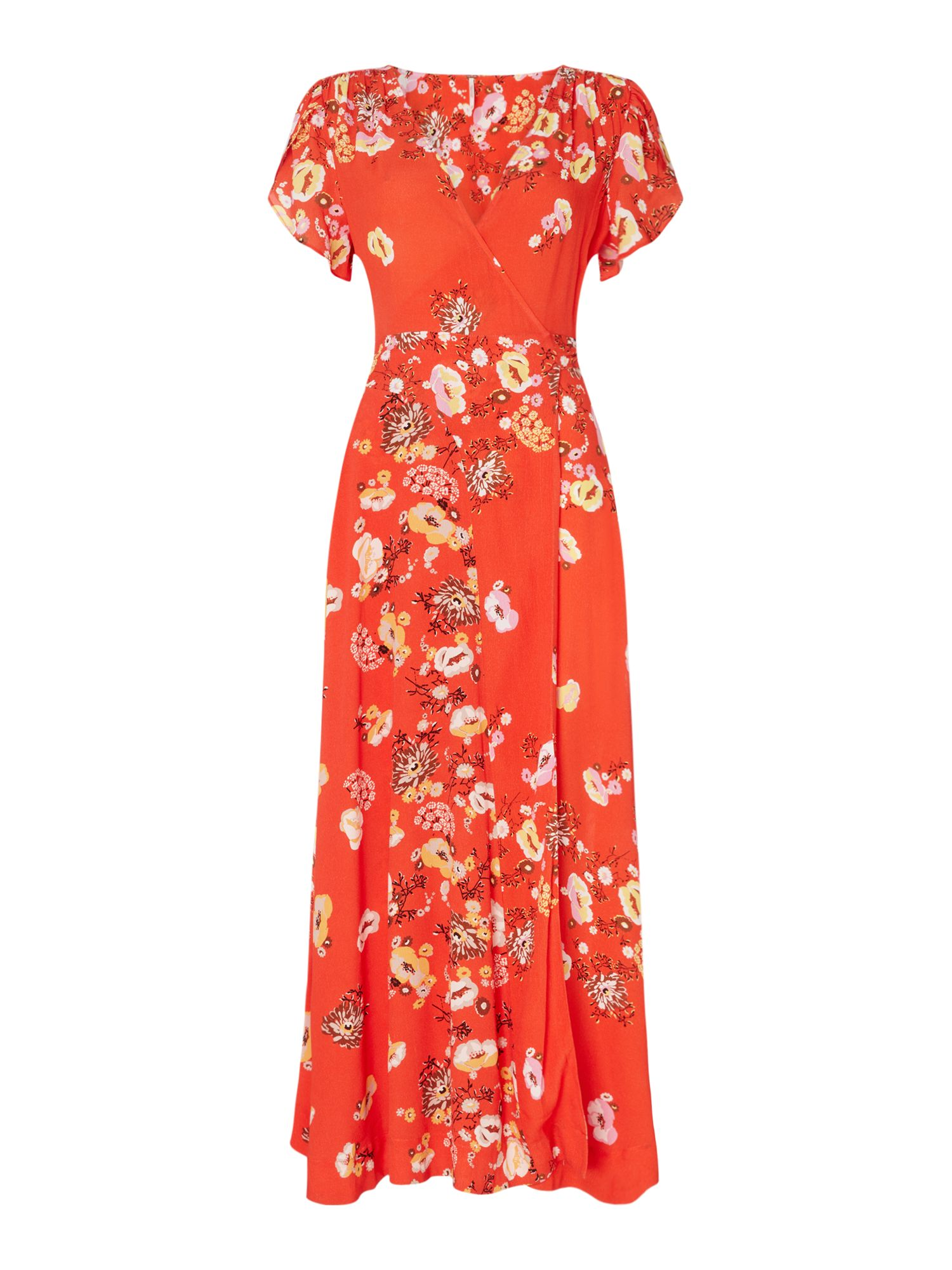 Free People Jess Cap Sleeve Wrap Floral Maxi Dress, Red
