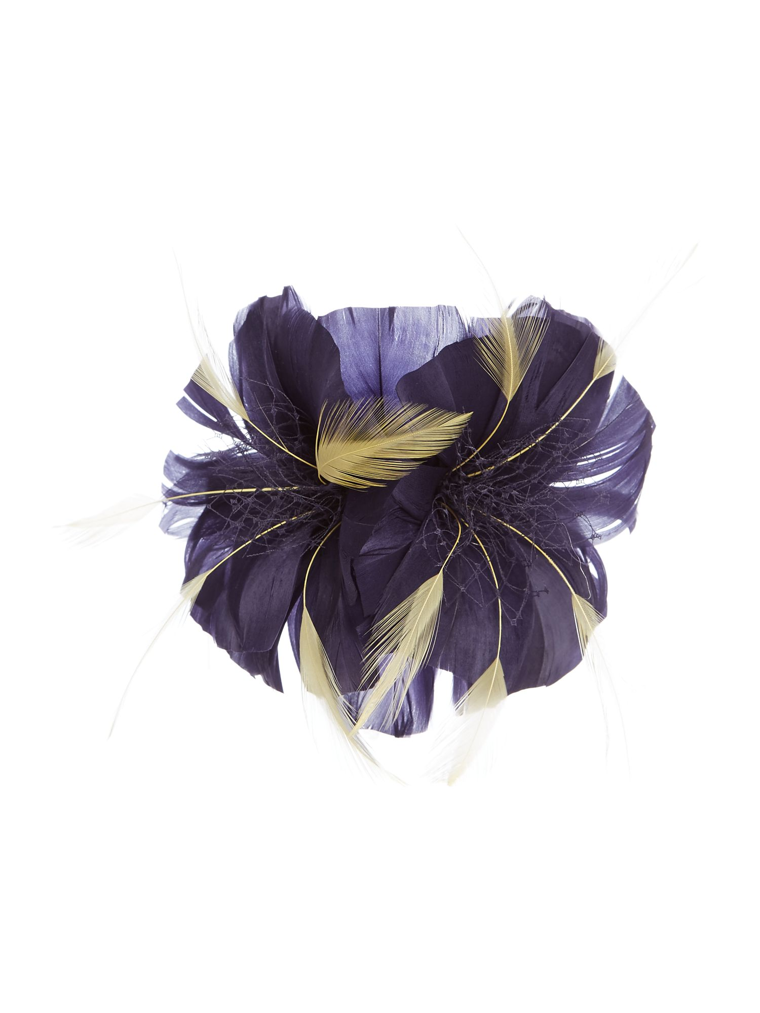 ISSA Felicity feather flower clip, Blue