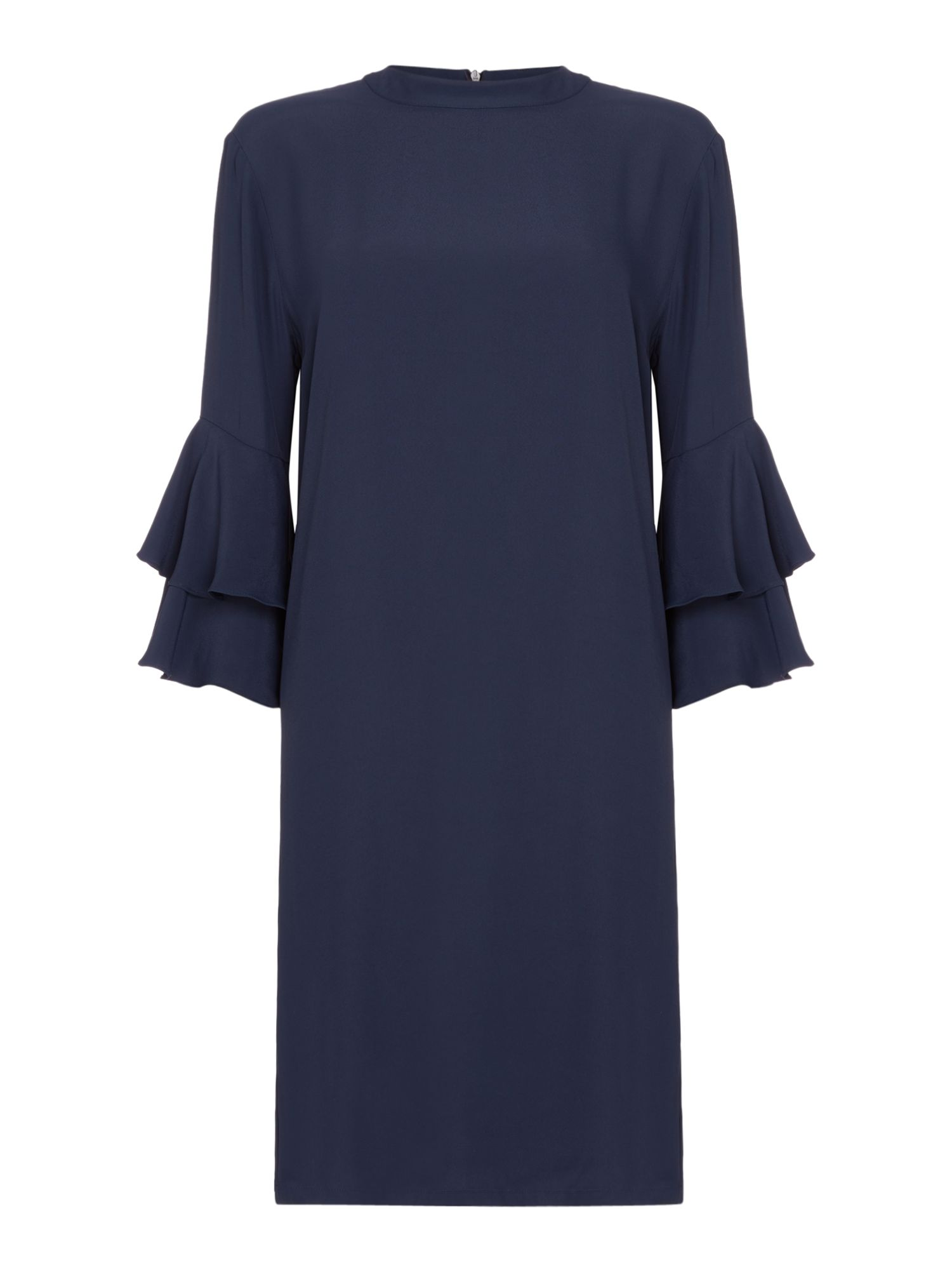 Second Female Martina Long Frill Sleeve Shift Dress, Blue